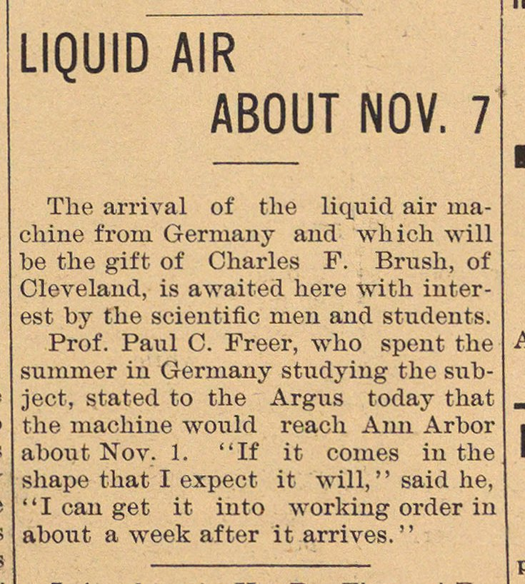 Liquid Air About Nov. 7 image