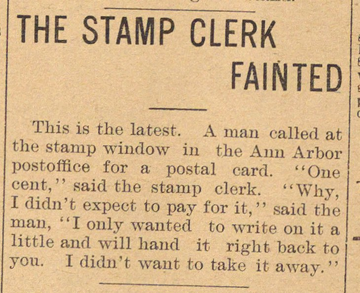 The Stamp Clerk Fainted image