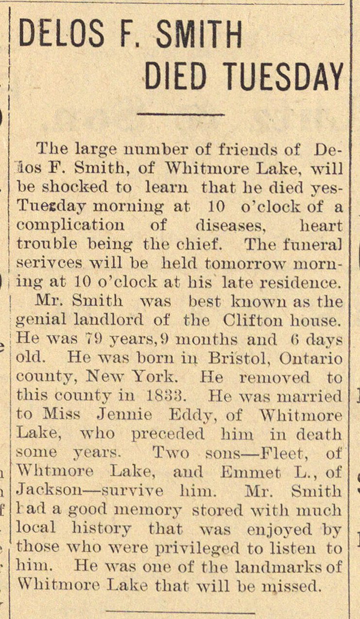 Delos F. Smith Died Tuesday image