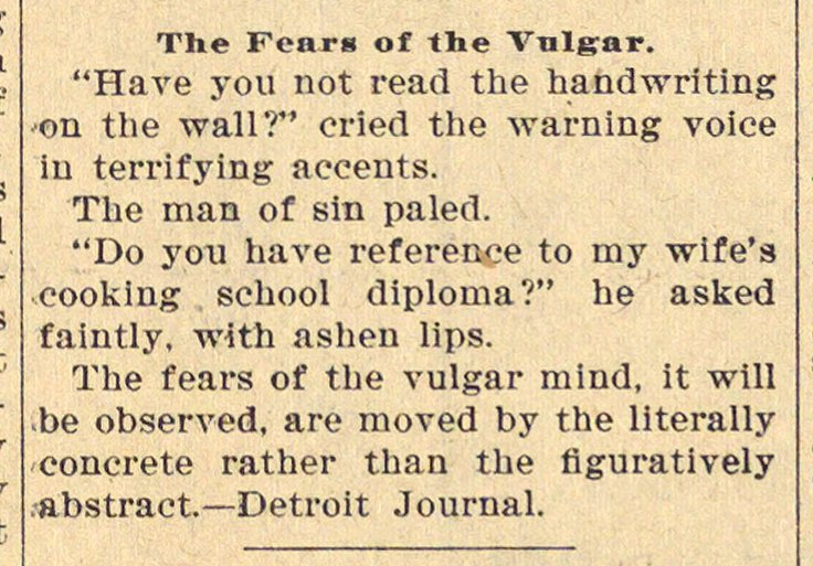 The Fears Of The Vulgar image
