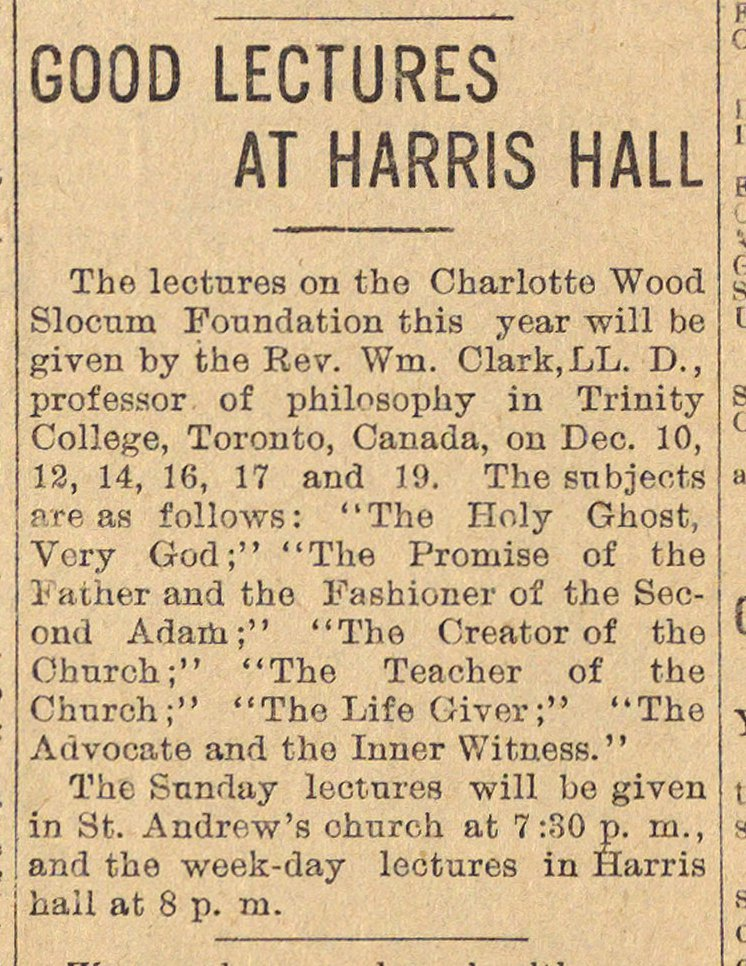 Good Lectures At Harris Hall, St. Andrew's Episcopal Church image
