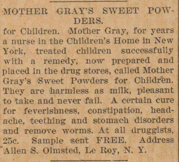 Mother Gray's Sweet Powders image