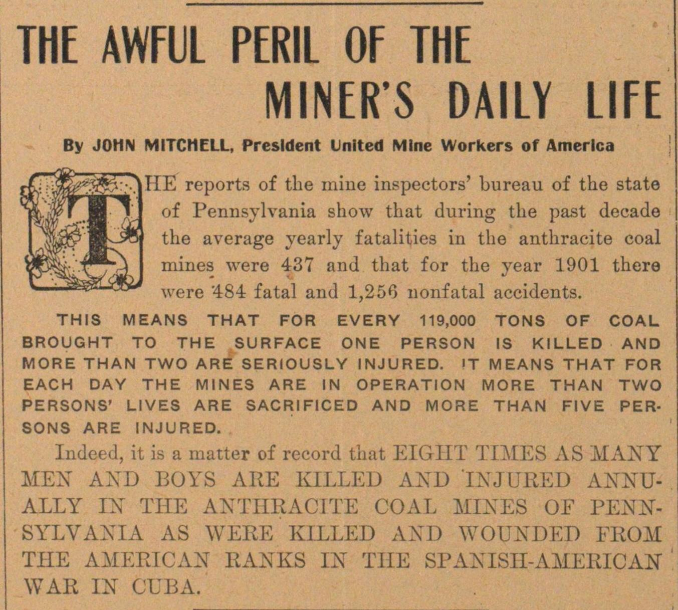 The Awful Peril Of The Miner's Daily Life image