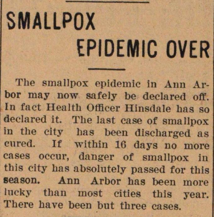 Smallpox Epidemic Over image