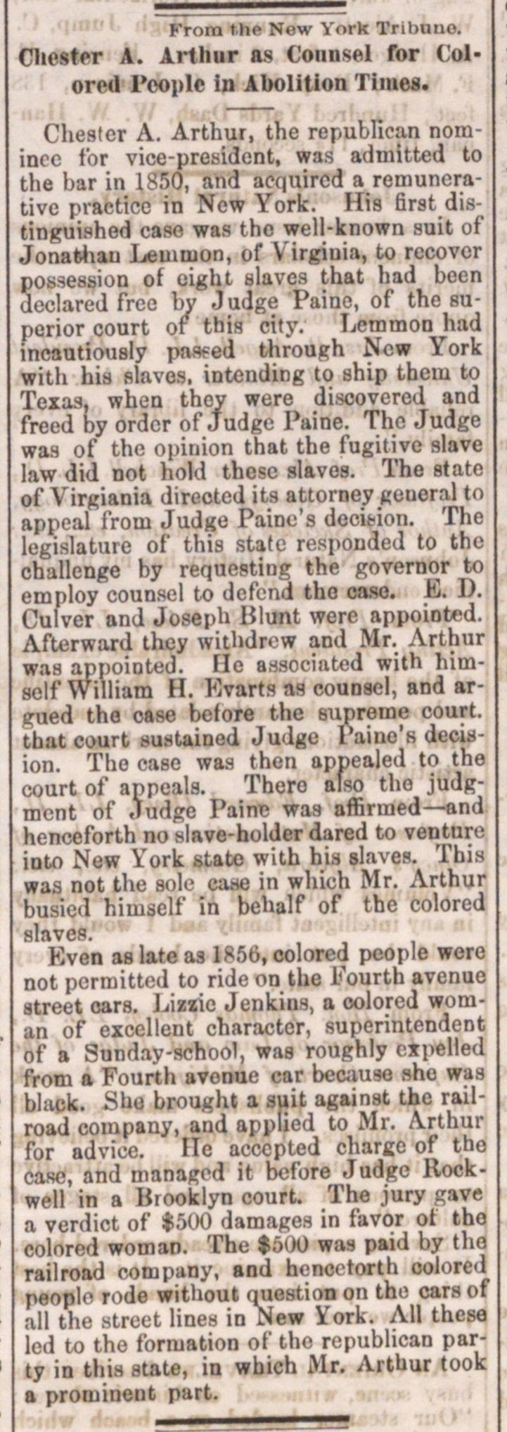 Chester A. Arthur As Counsel For Colored People In Abolition Times image