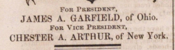 FOR PRESIDENT, JAMES A. GARFIELD, of Ohio. image