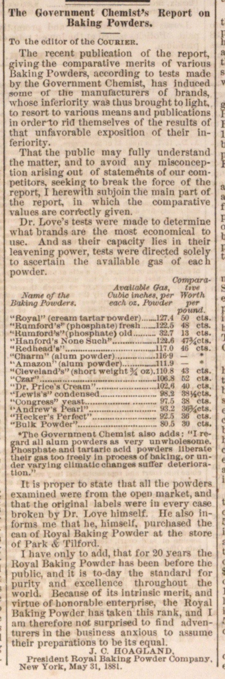 The Government Chemist's Report On Baking Powders image