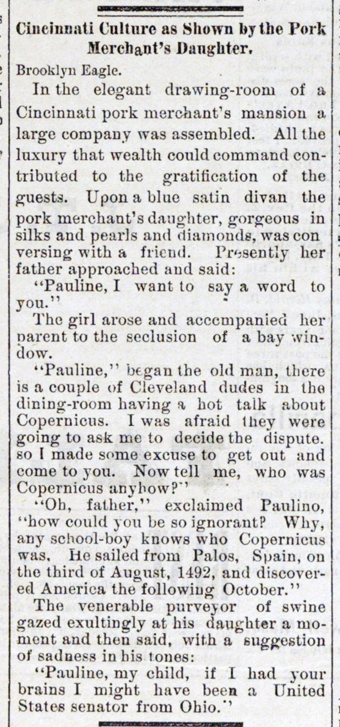 Cincinnati Culture As Shown By The Pork Merchant's Daughter image