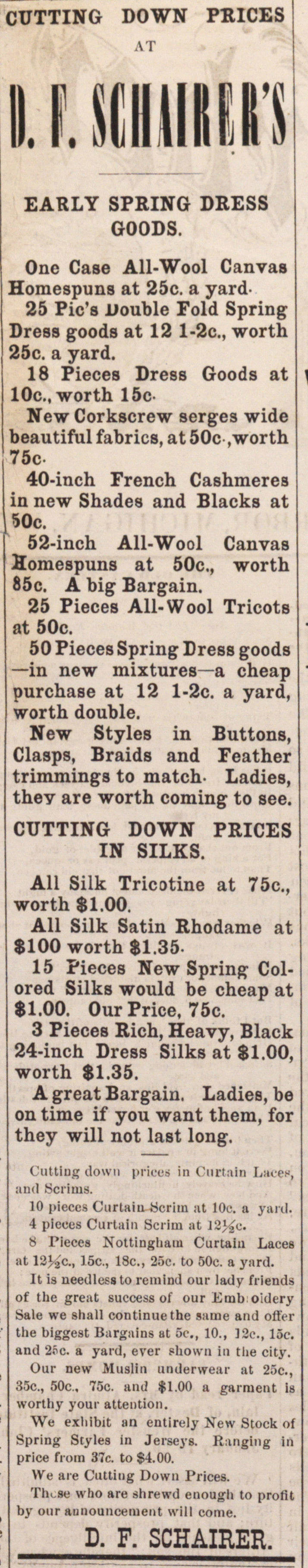 DUTTING DOWN PRICES EARLY SPRING DRESS G... image