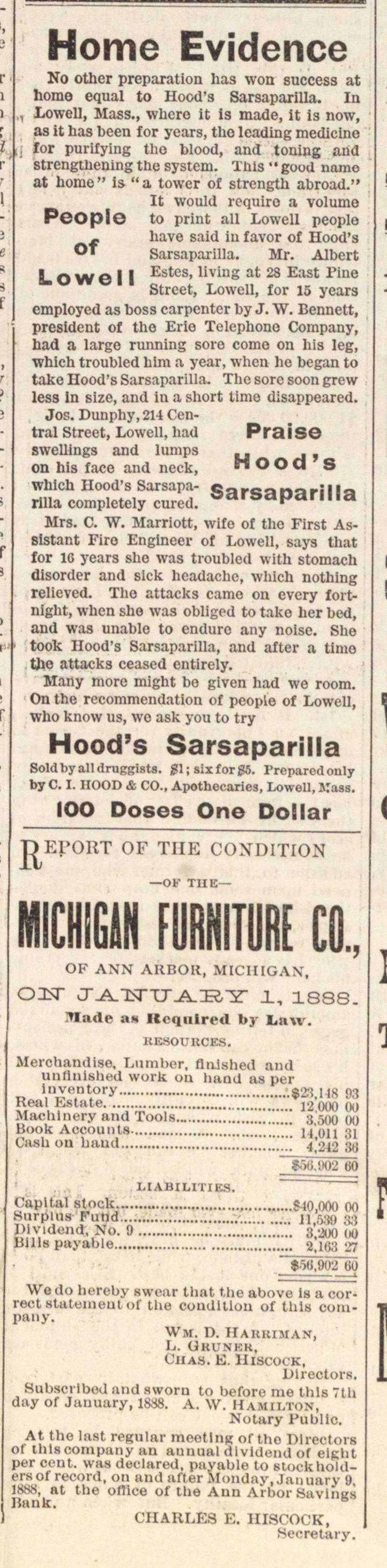 Hood's Sarsaparilla & Michigan Furniture Co. image
