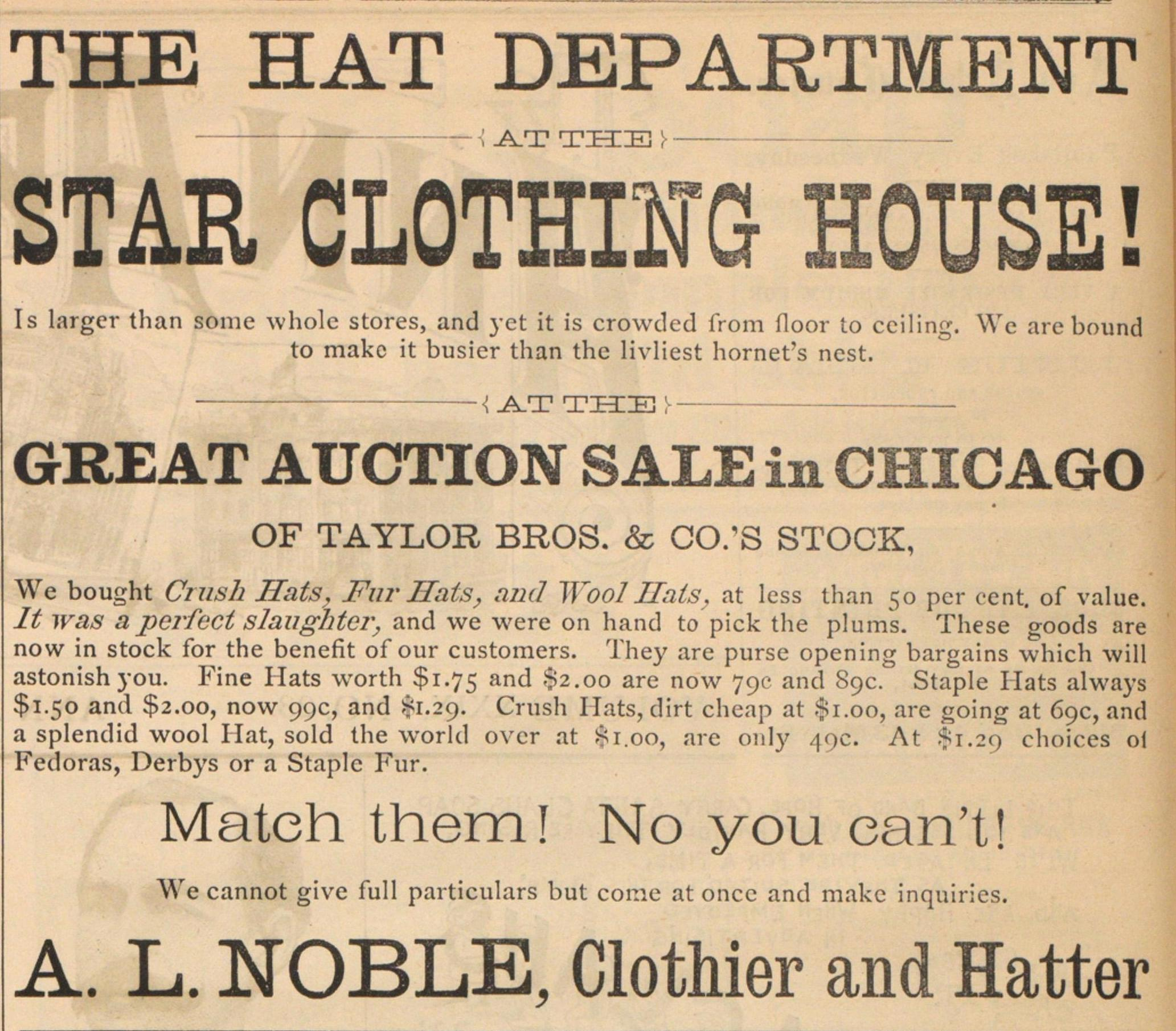 A. L. Noble, Clothier And Hatter image
