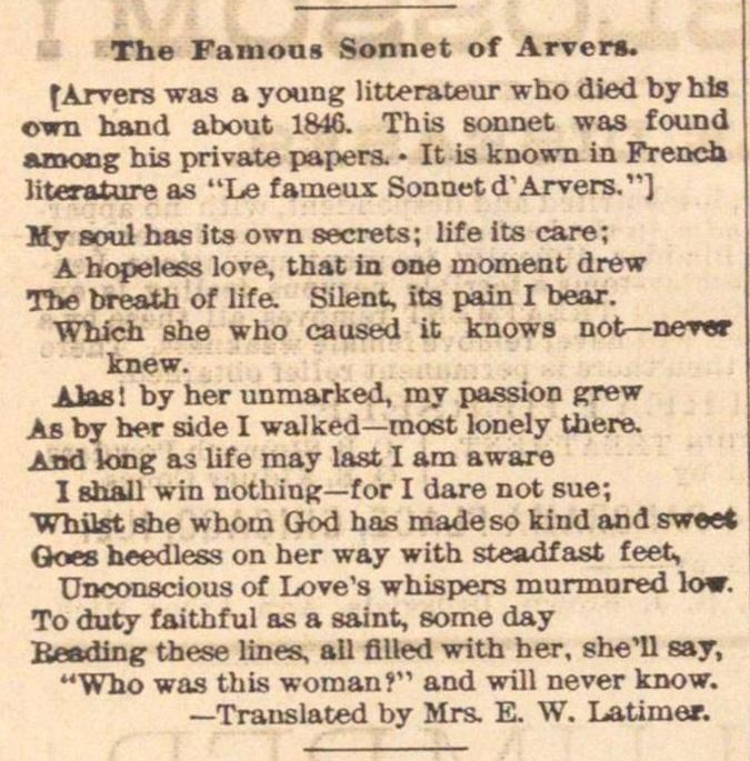 The Famous Sonnet Of Arvers image