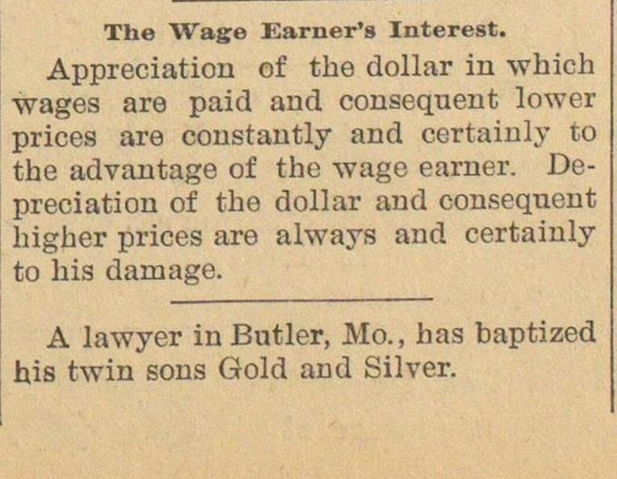 The Wage Earner's Interest image