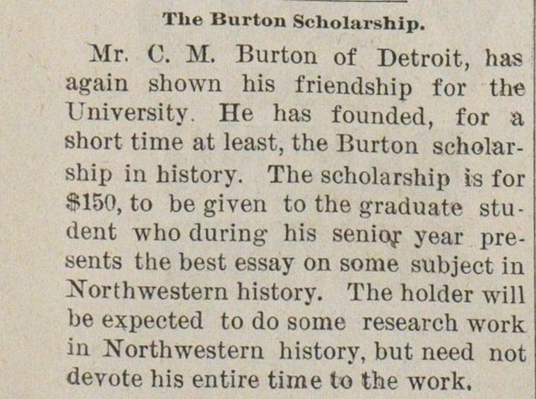 The Burton Scholarship image