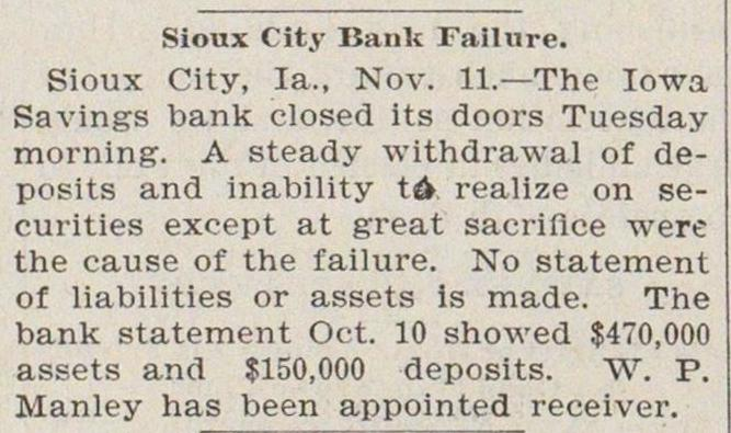 Sioux City Bank Failure image