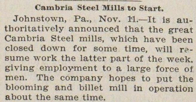 Cambria Steel Mills To Start image