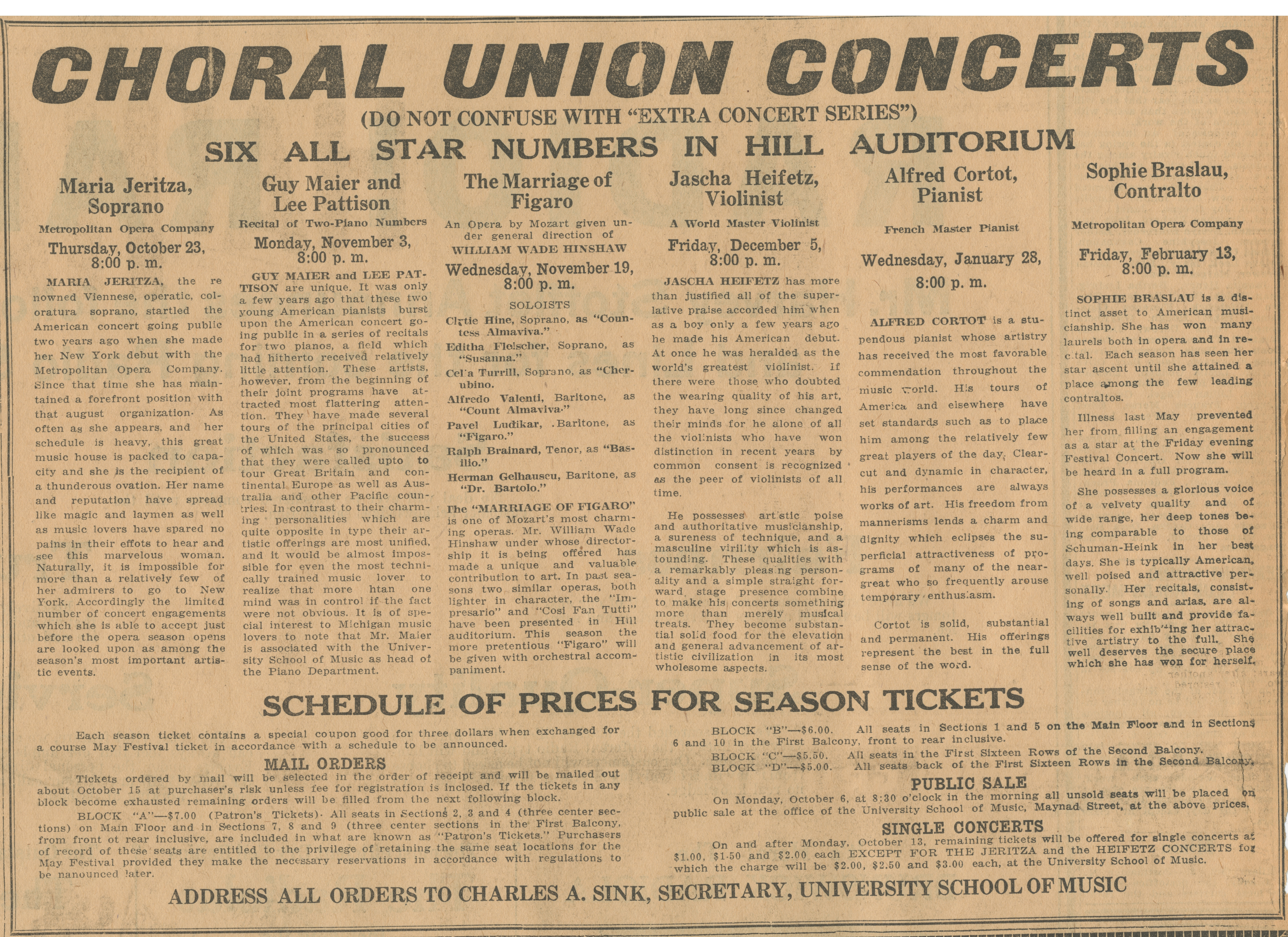 "Choral Union Concerts (Do Not Confuse With ""Extra Concert Series"") Six All Star Numbers In Hill Auditorium - October 3, 1924 image"