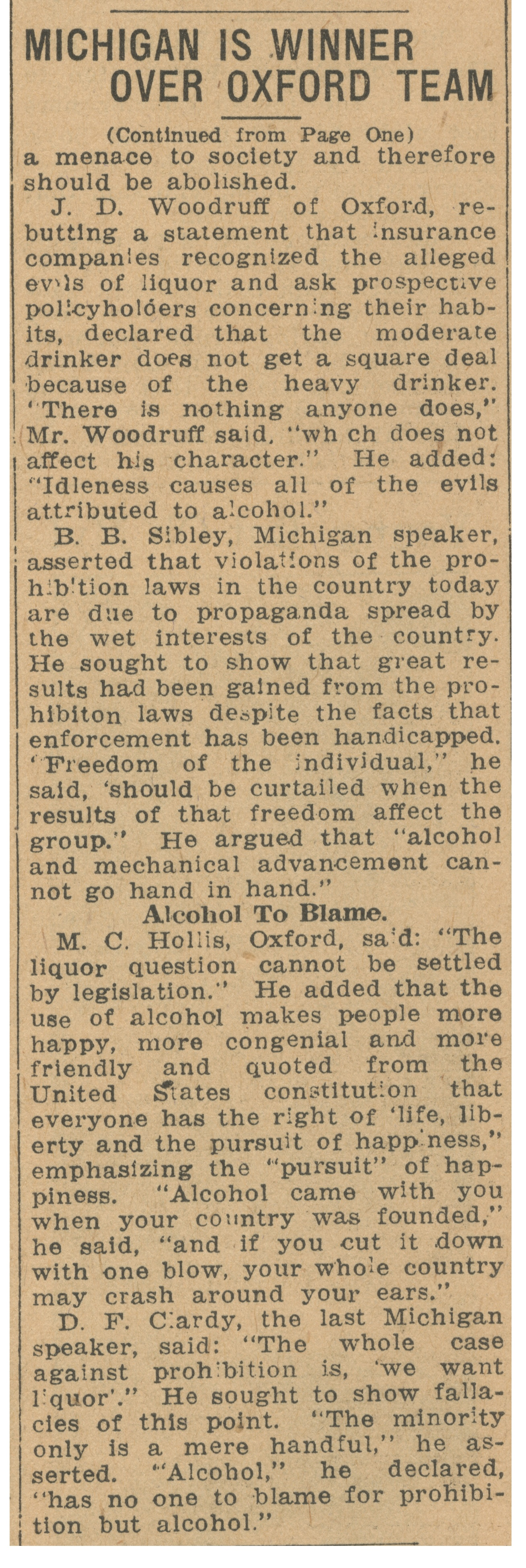 Michigan Is Winner Over Oxford Team: Varsity Debaters Given Decision In International Contest - October 9, 1924 image