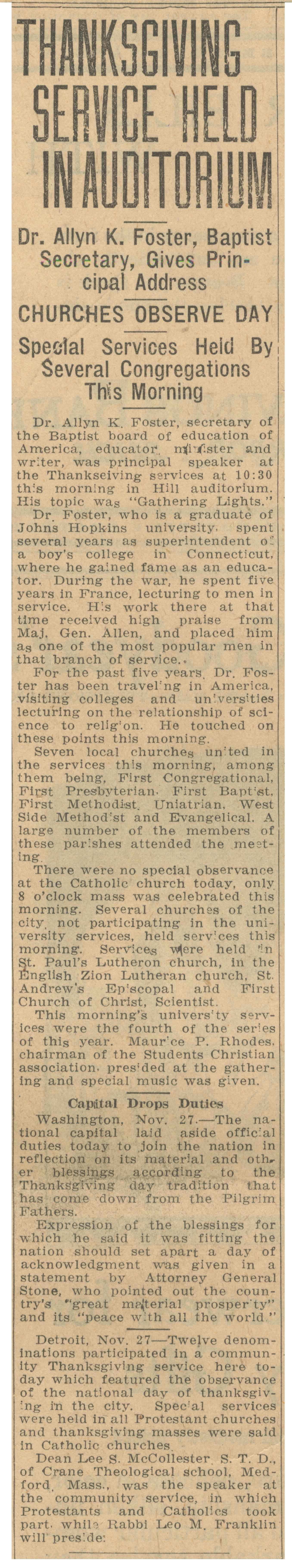 Thanksgiving Service Held In Auditorium: Dr. Allyn K. Foster, Baptist Secretary, Gives Principal Address - November 27, 1924 image