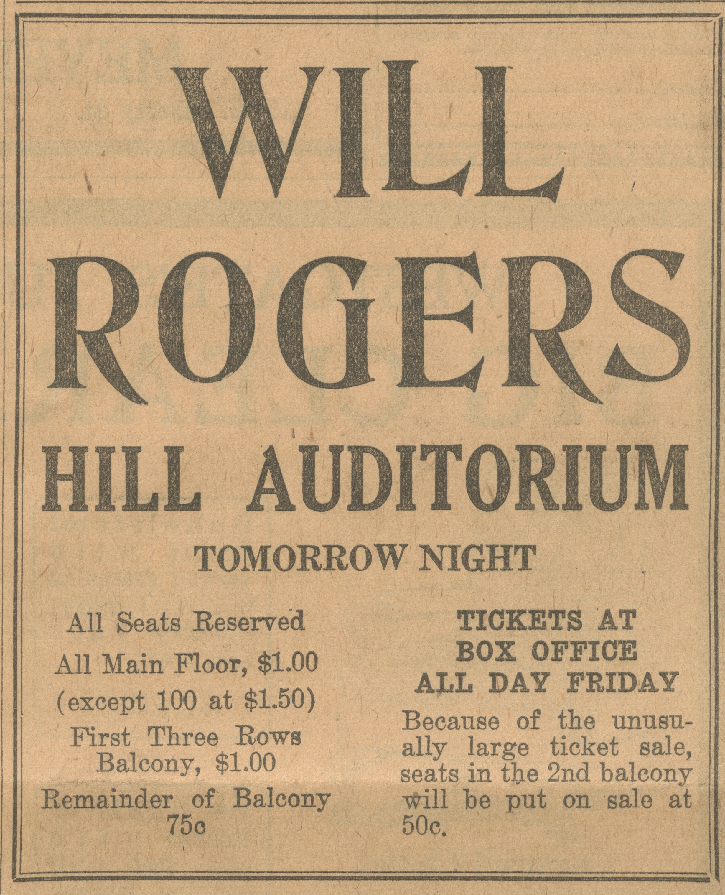 Will Rogers Hill Auditorium Tomorrow Night - January 6, 1927 image
