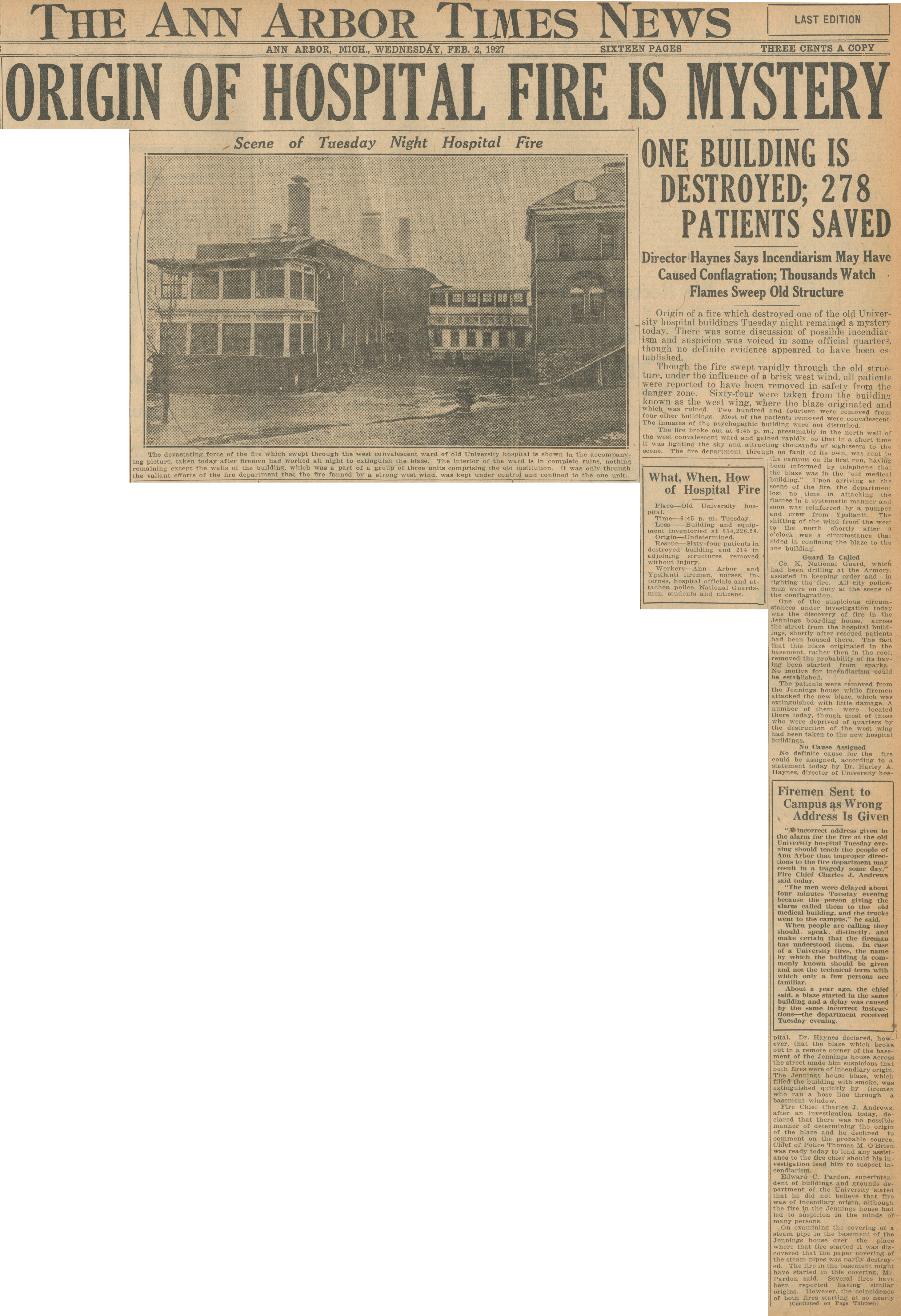 Origin Of Hospital Fire Is Mystery, February 2, 1927 image