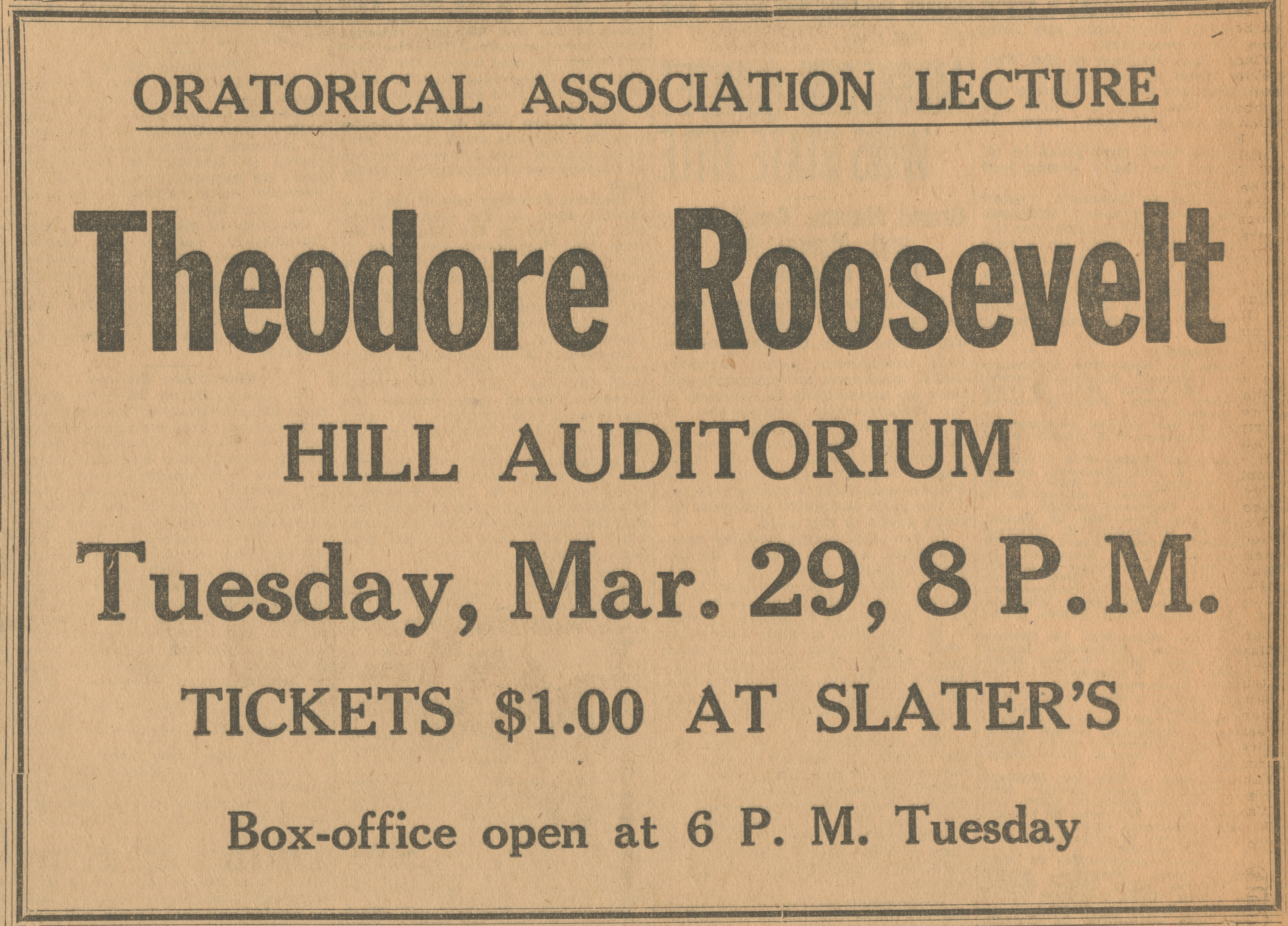 Oratorical Association Lecture: Theodore Roosevelt - March 28, 1927 image