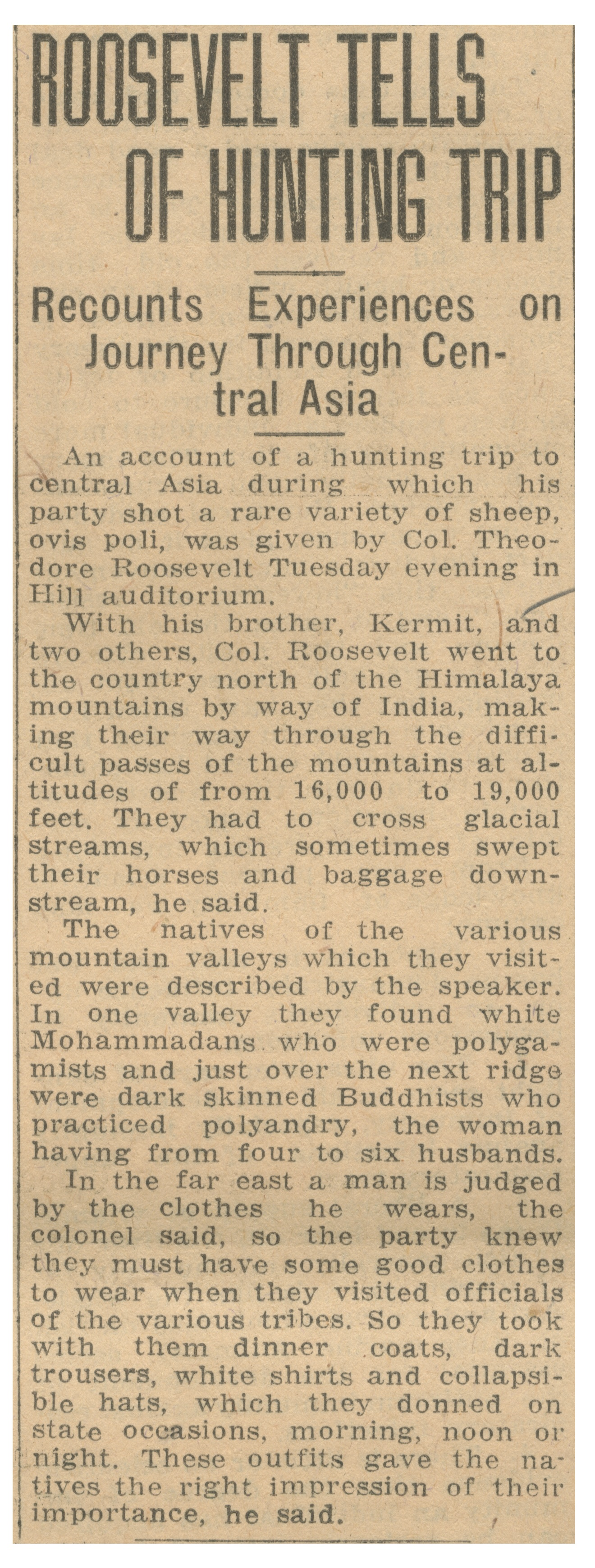 Roosevelt Tells Of Hunting Trip: Recounts Experiences On Journey Through Central Asia - March 30, 1927 image