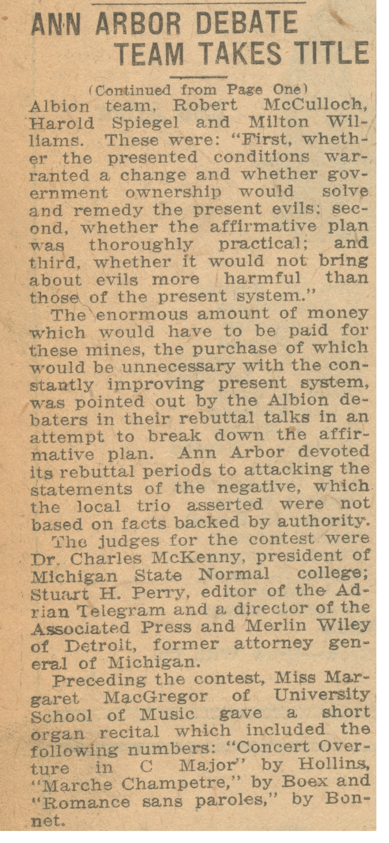 Ann Arbor Debate Team Takes Title In State Contest: Local High School Orators Given Unanimous Decision Over Albion Trio; Trophies And Watches Presented To Participants - May 12, 1927 image