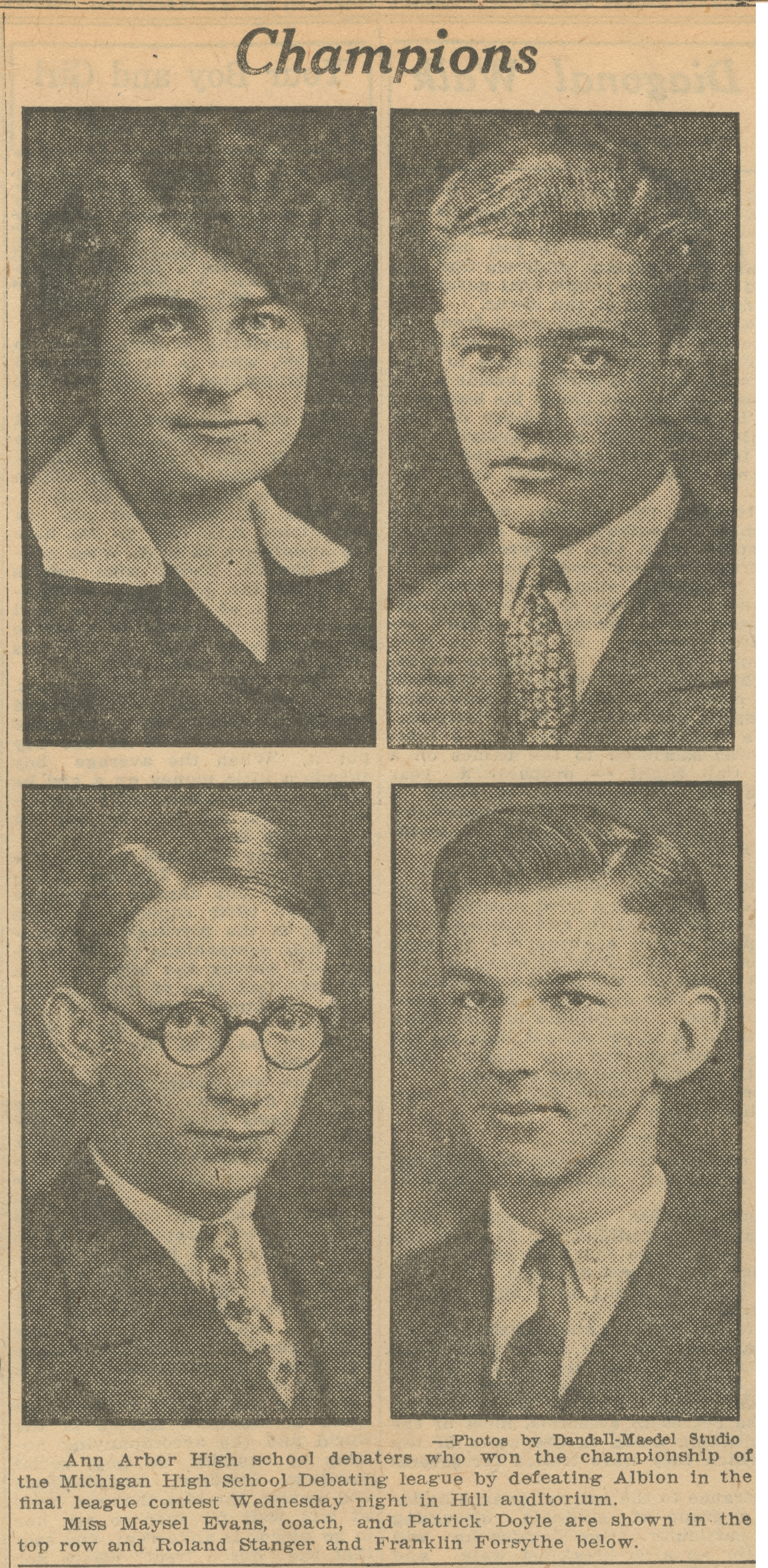 Champions: Ann Arbor High School Debaters - May 12, 1927 image