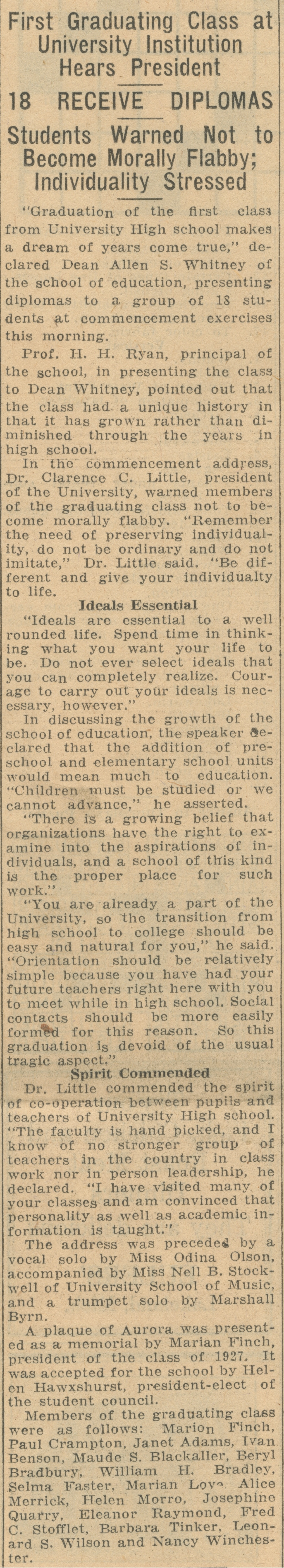 First Graduating Class At University Institution Hears President: 18 Receive Diplomas - Students Warned Not To Become Morally Flabby; Individuality Stressed - June 17, 1927 image
