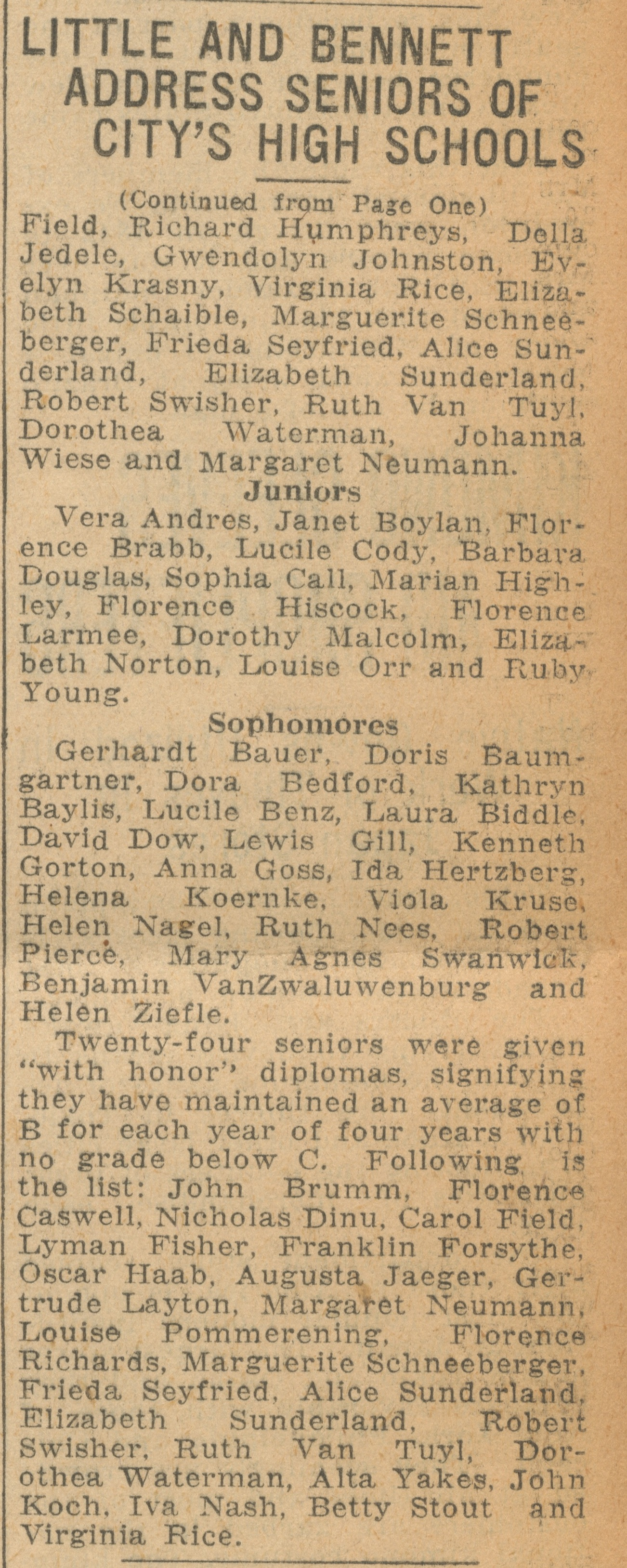 Little And Bennett Address Seniors Of City's High Schools: 208 Students Are Awarded Their Diplomas At Exercises In Hill Auditorium; Annual Honor Roll Is Announced - June 17, 1927 image
