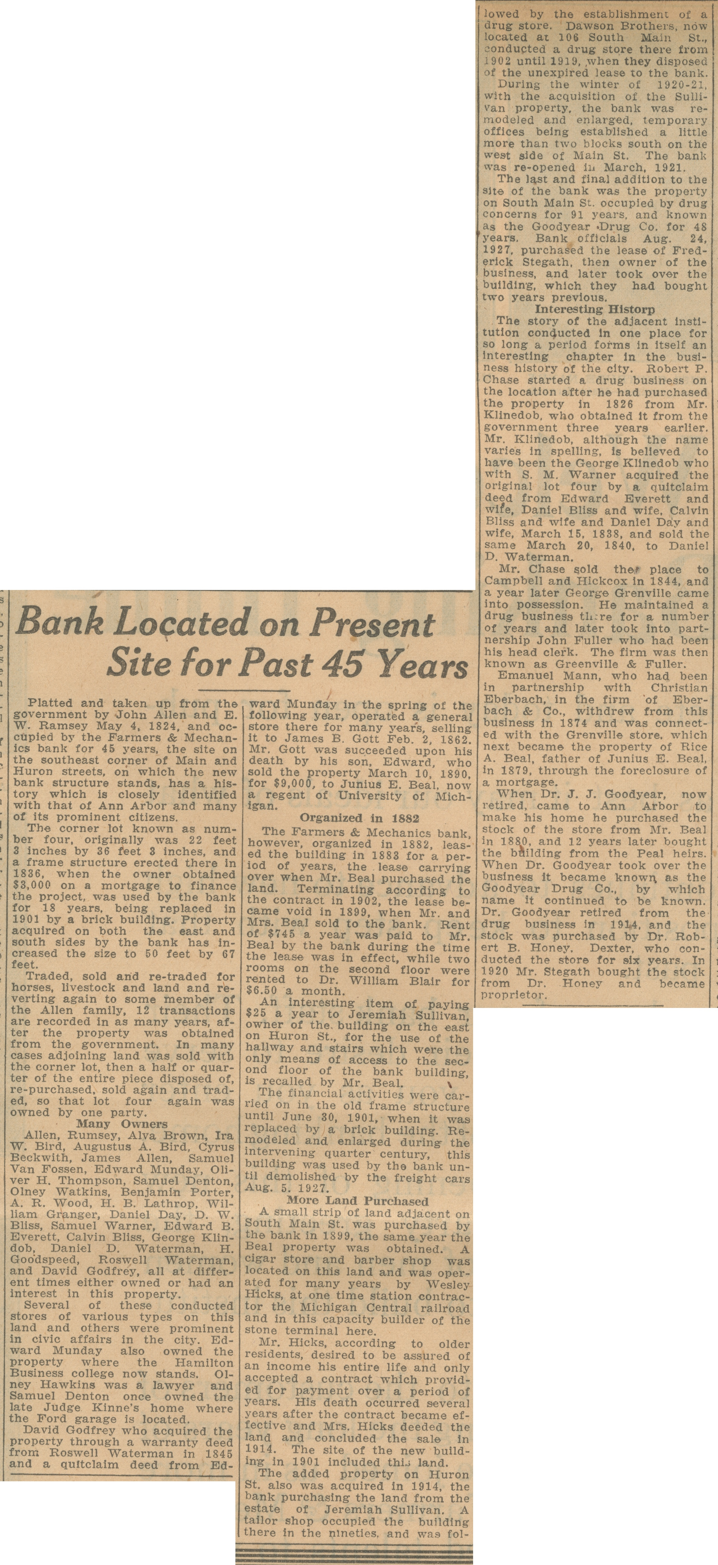 Bank Located On Present Site For Past 45 Years image