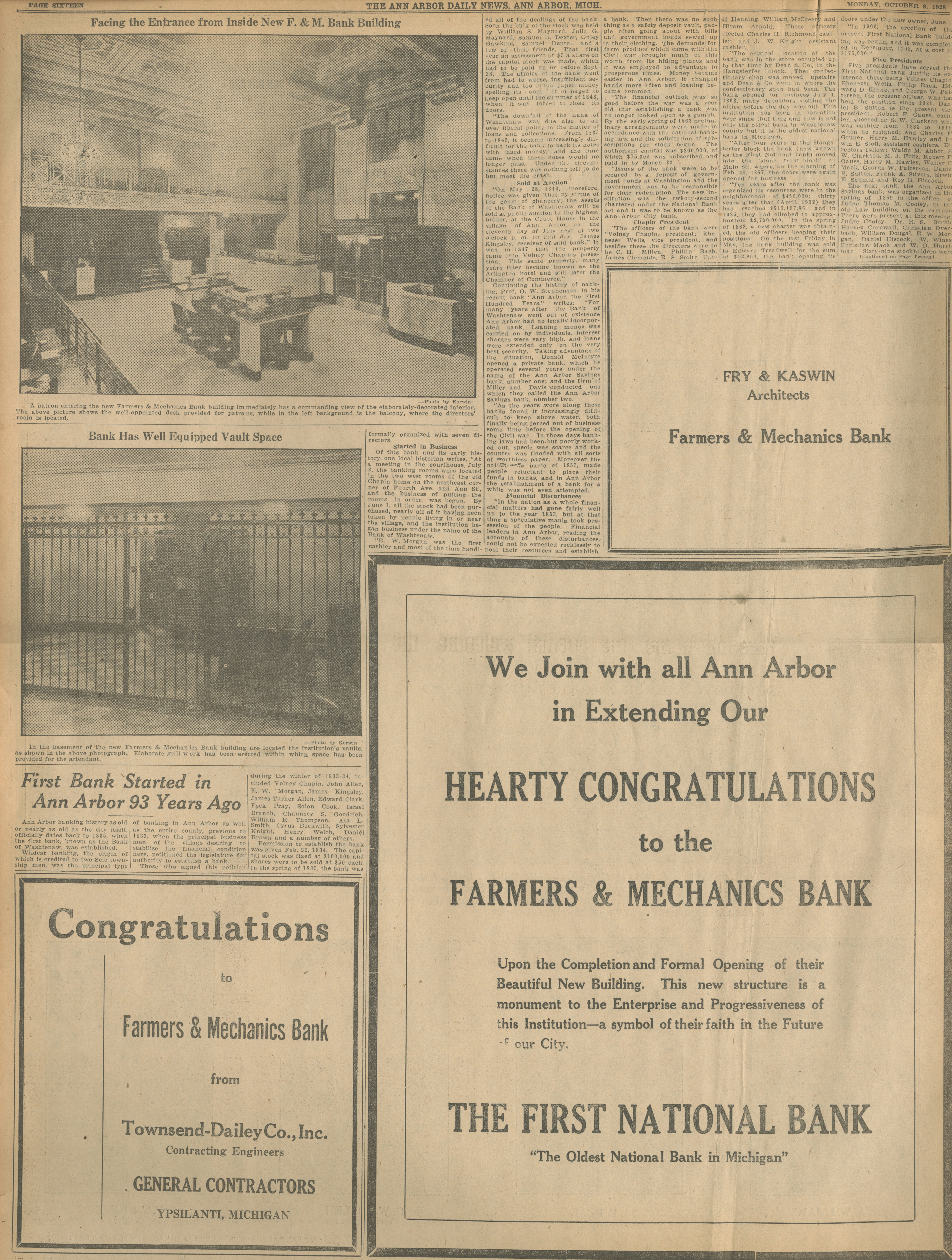 First Bank Started in Ann Arbor 93 Years Ago image