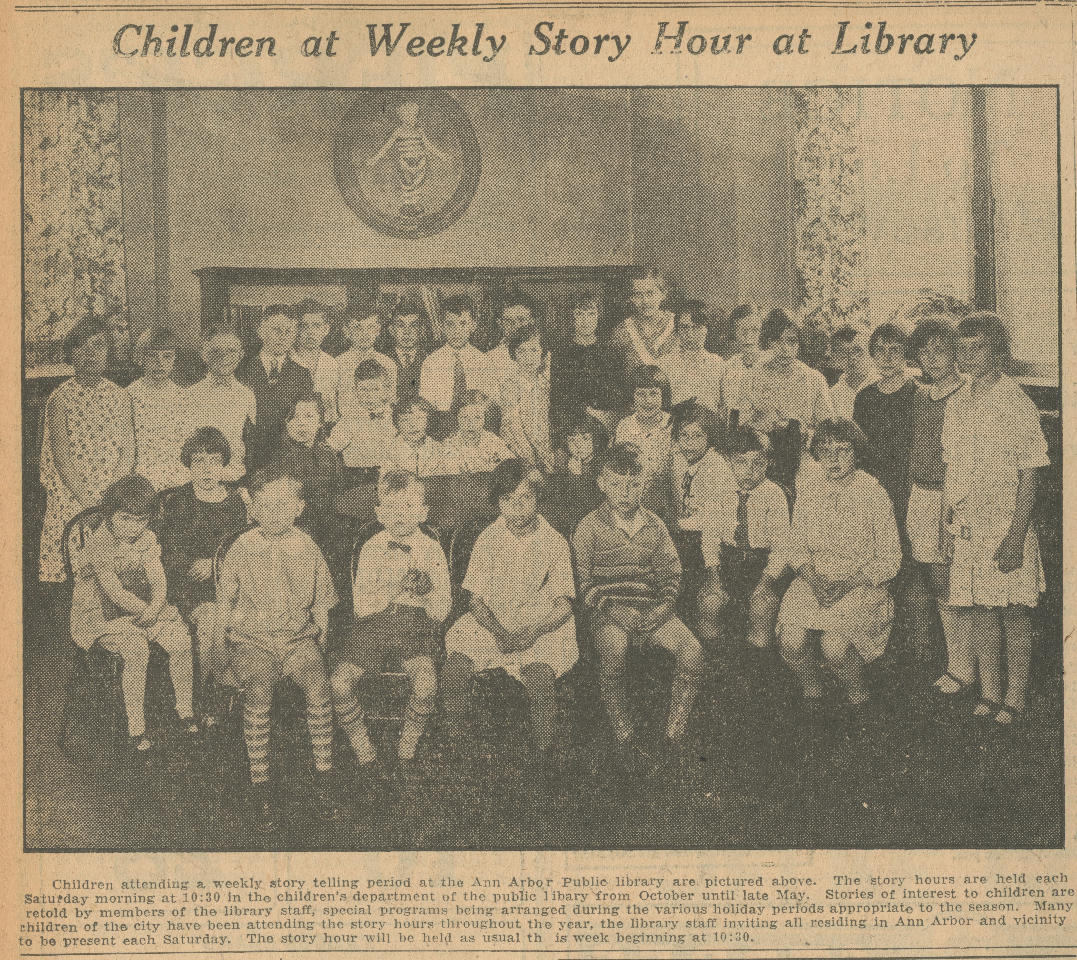Children at Weekly Story Hour at Library image