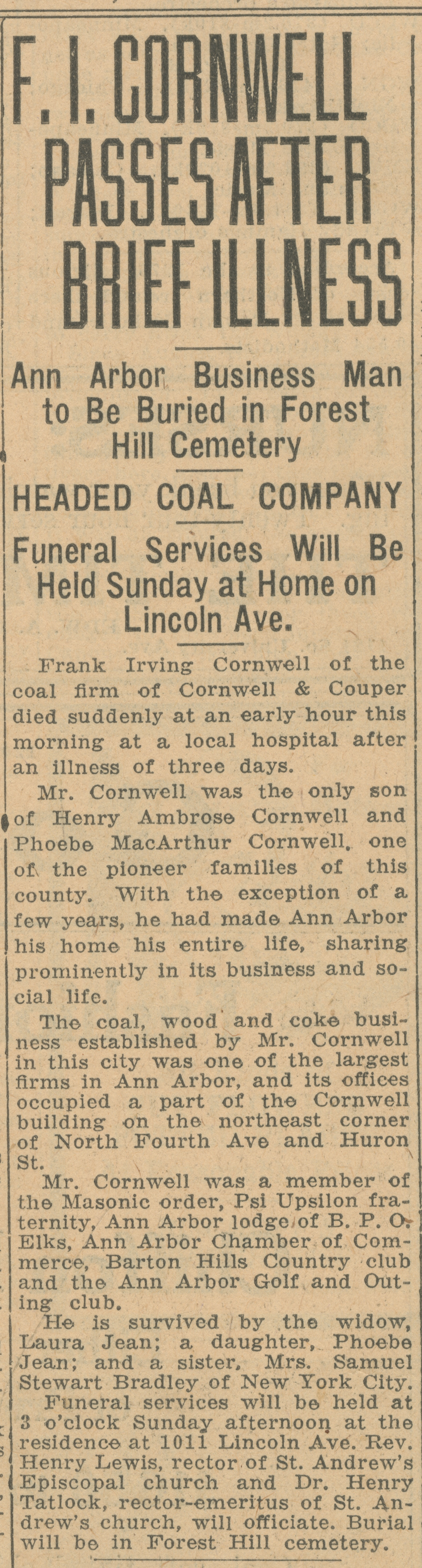 F. I. Cornwell Passes After Brief Illness image