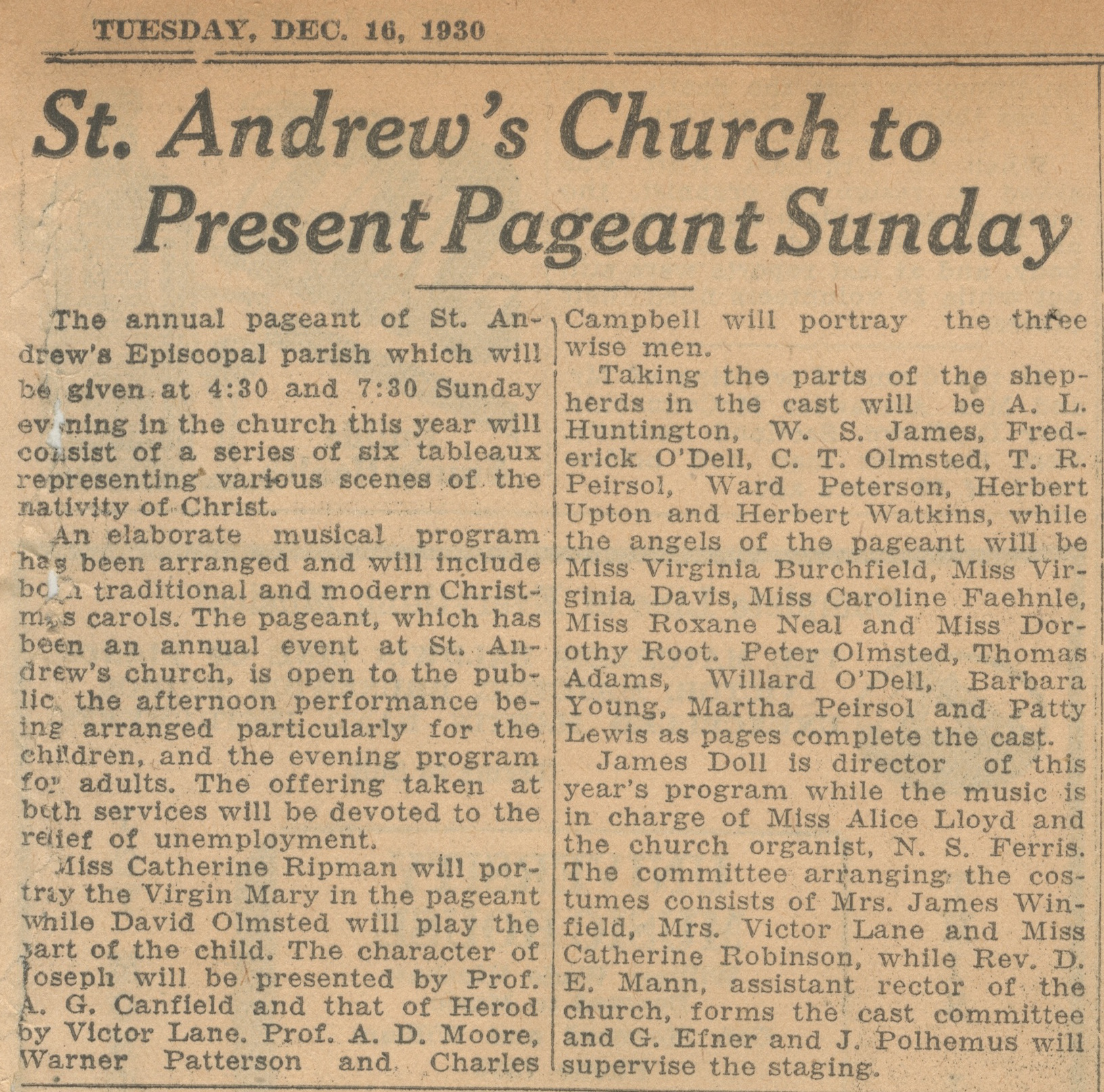 St. Andrew's Church To Present Pageant Sunday image