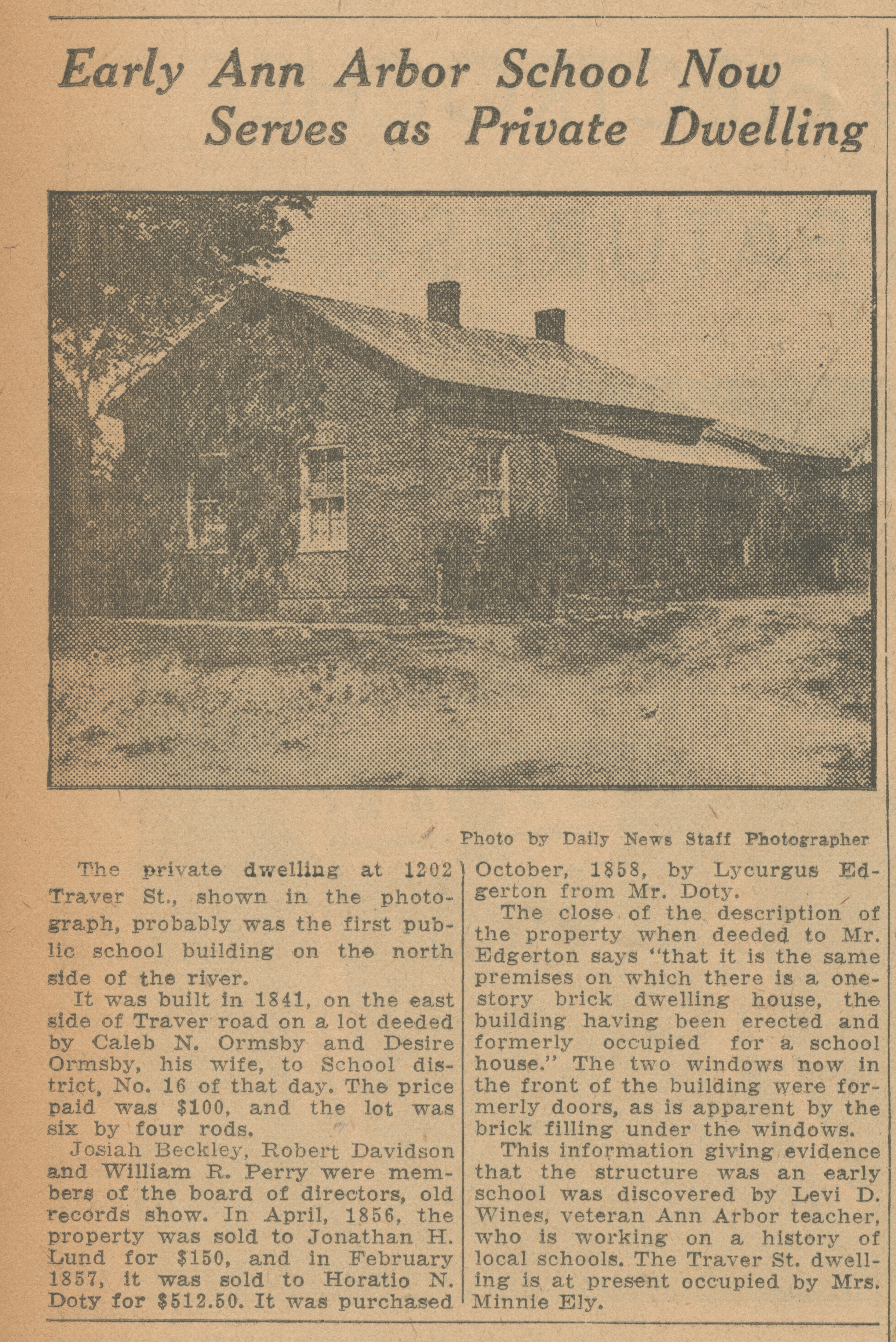 Early Ann Arbor School Now Serves as Private Dwelling image