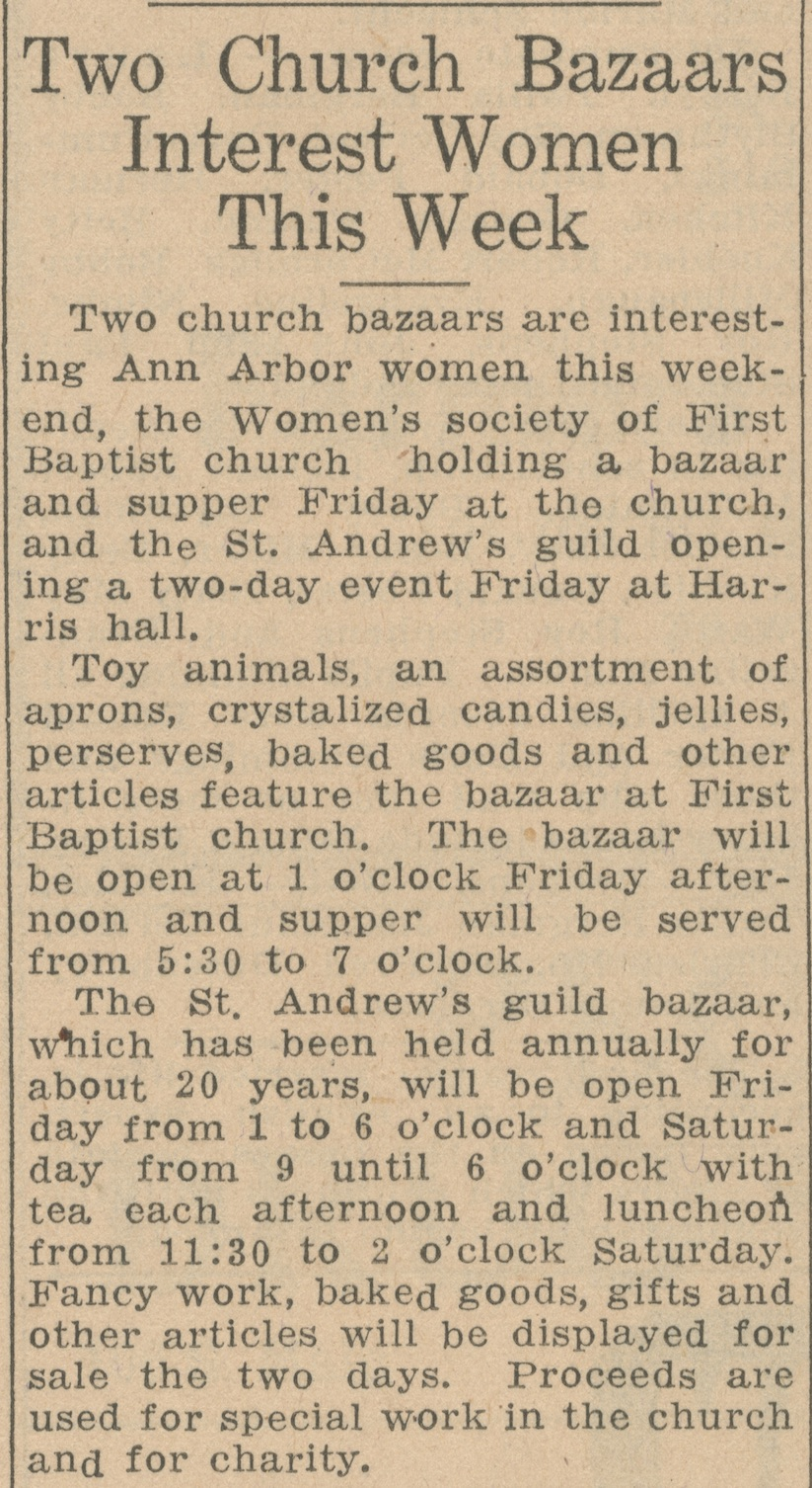 Two Church Bazaars Interest Women This Week image