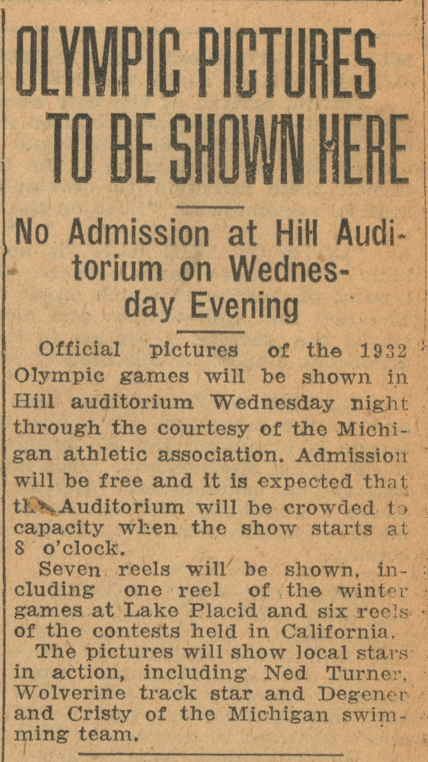 Olympic Pictures To Be Shown Here: No Admission at Hill Auditorium on Wednesday Evening image