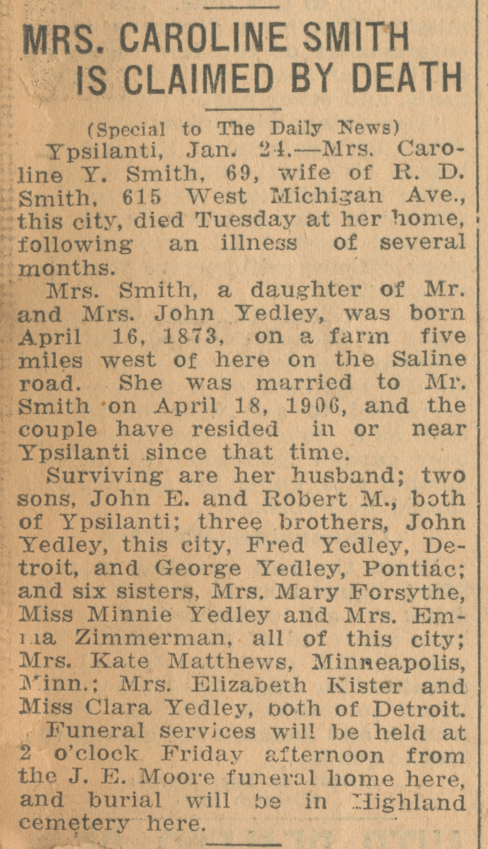 Mrs. Caroline Smith Is Claimed By Death image