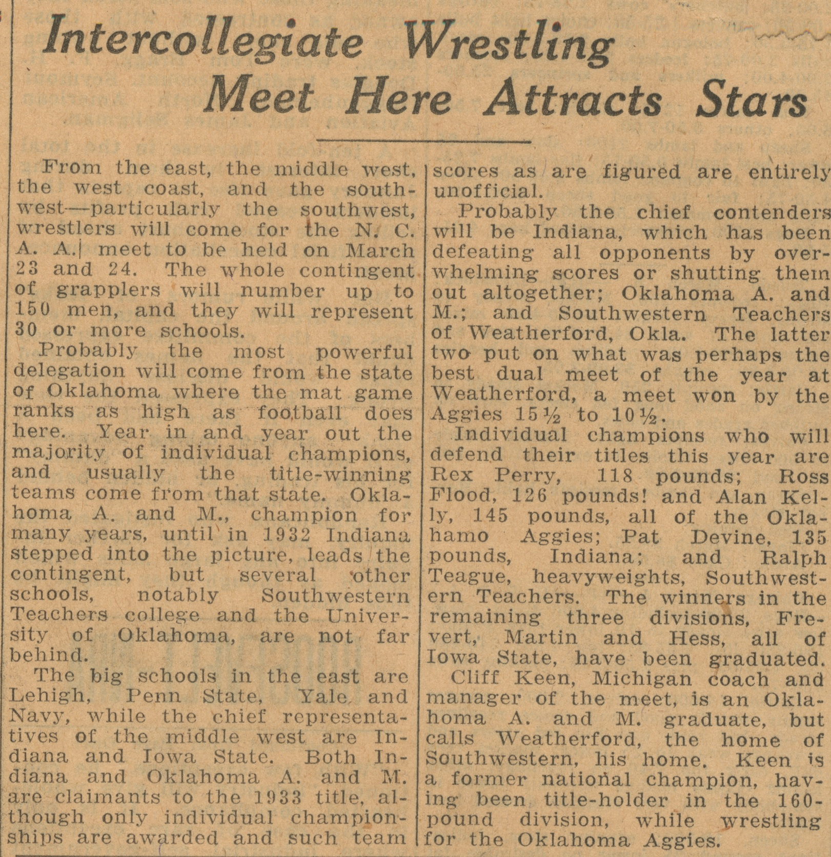 Intercollegiate Wrestling Meet Here Attracts Stars image