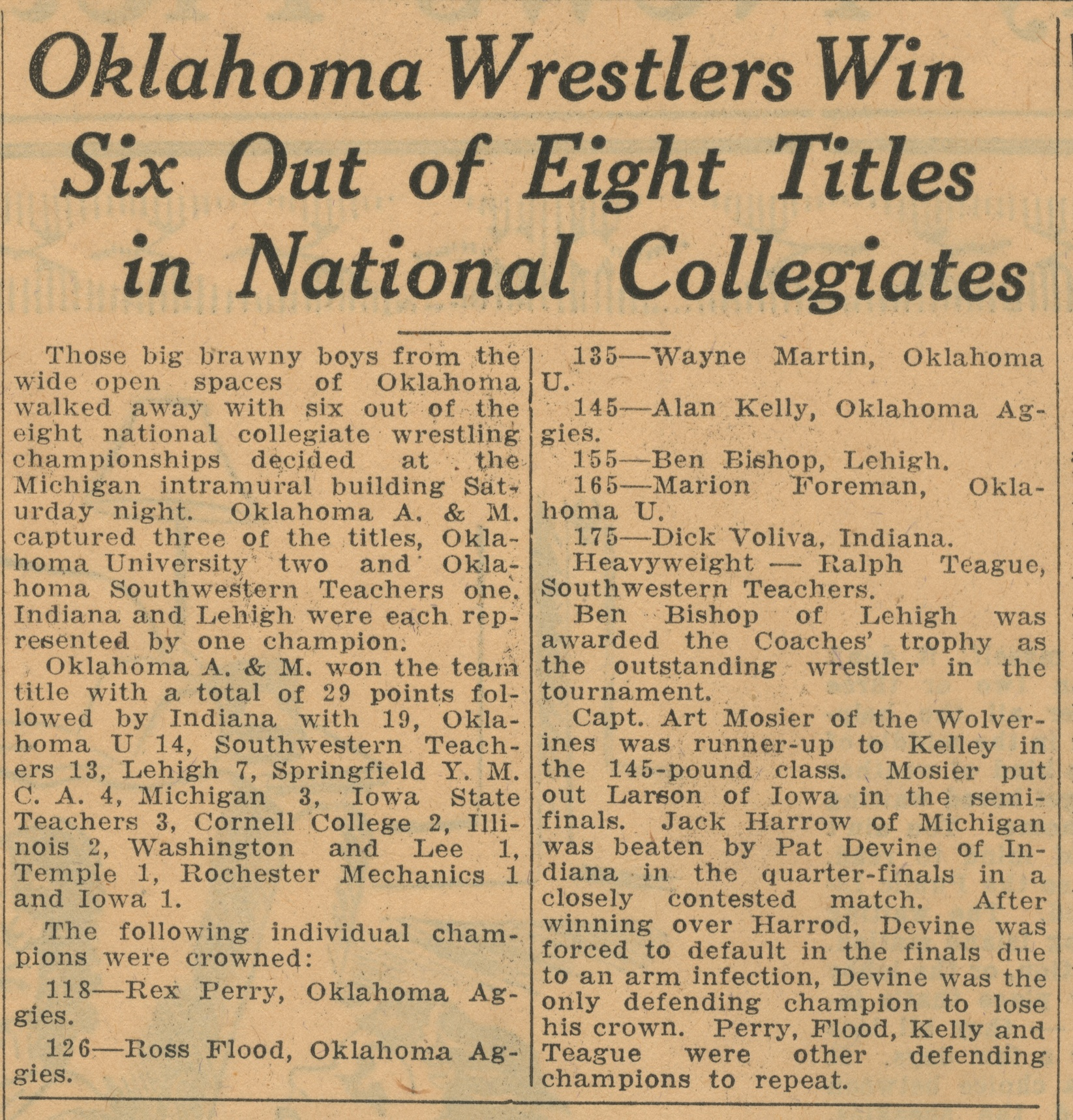 Oklahoma Wrestlers Win Six Out of Eight Titles In National Collegiates image