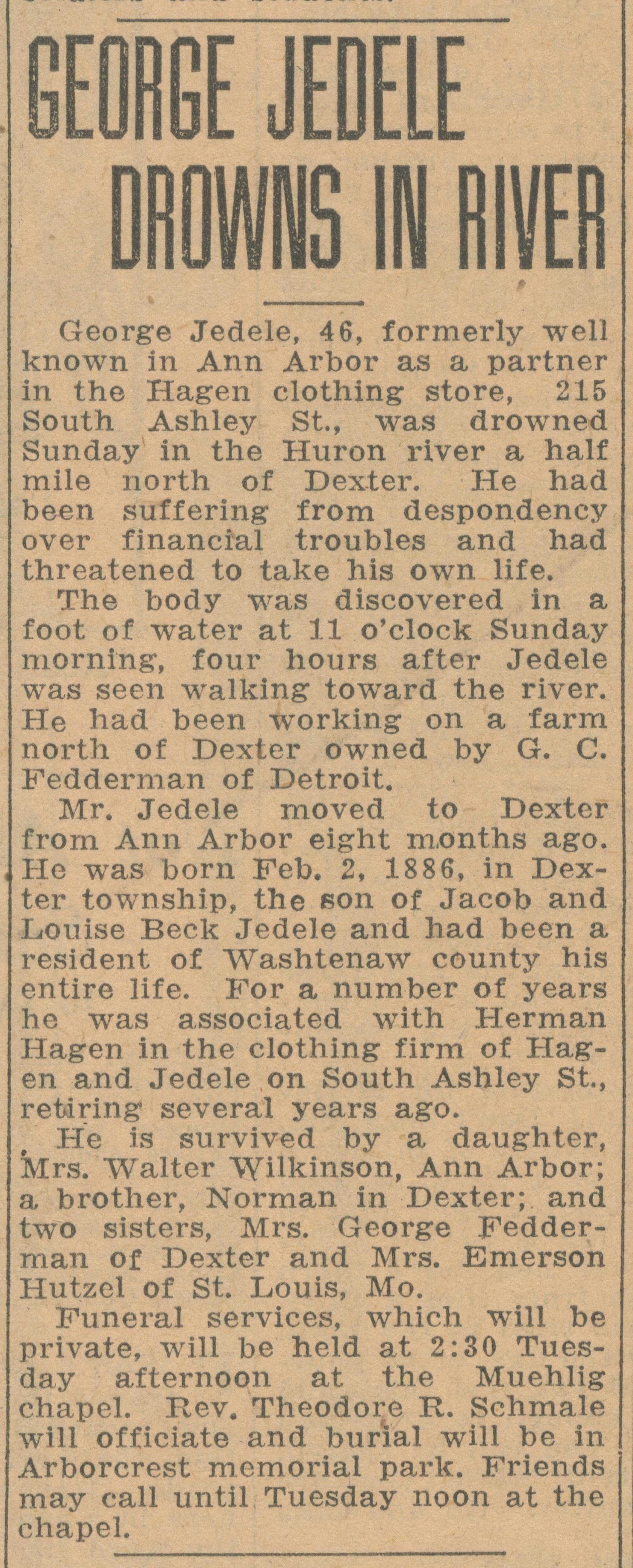 George Jedele Drowns In River image