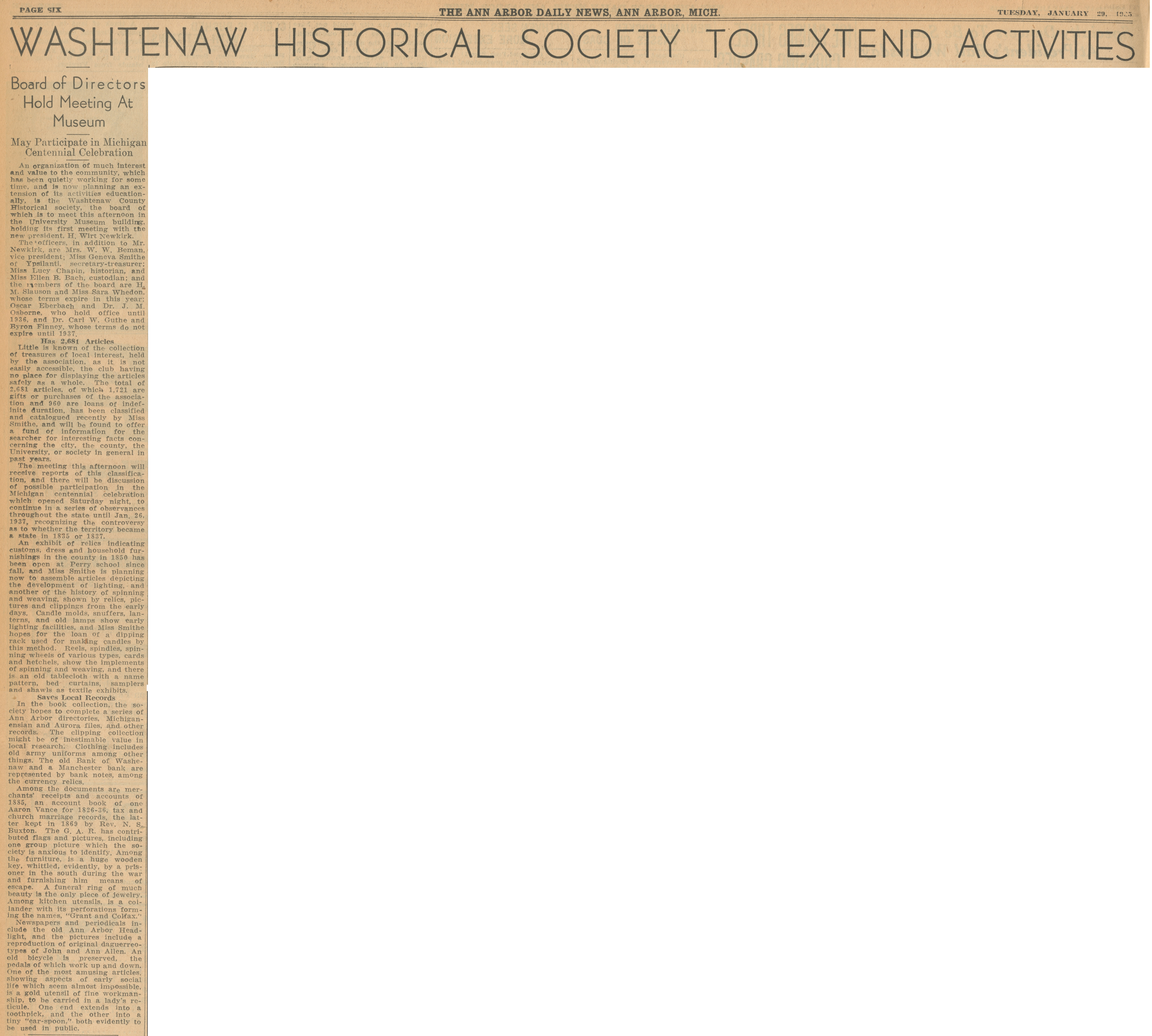 Washtenaw Historical Society To Extend Activities - Board of Directors Hold Meeting At Museum image