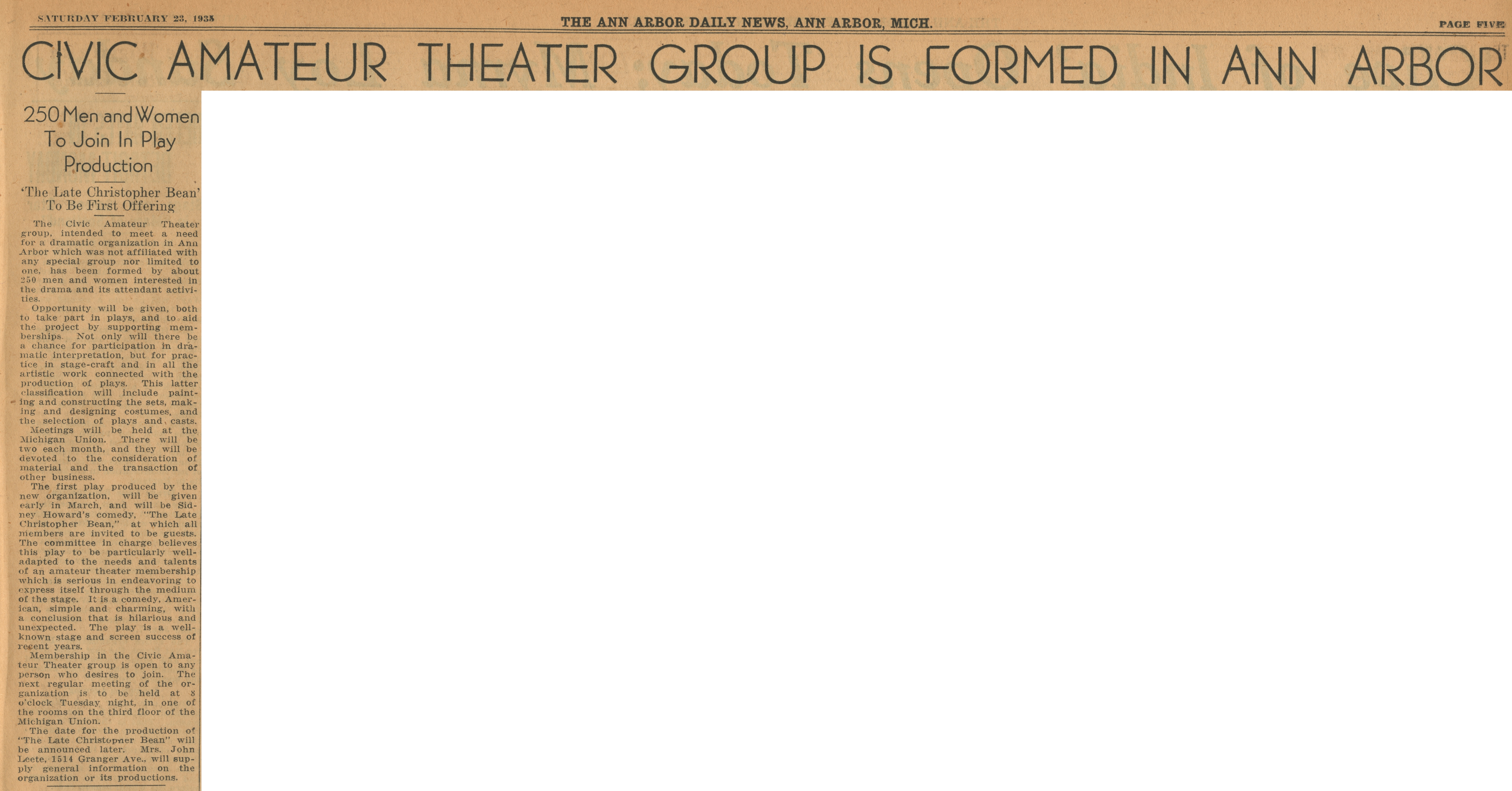 "Civic Amateur Theater Group Is Formed In Ann Arbor: 250 Men and Women To Join In Play Production -  ""The Late Christoper Bean"" To Be First Offering image"