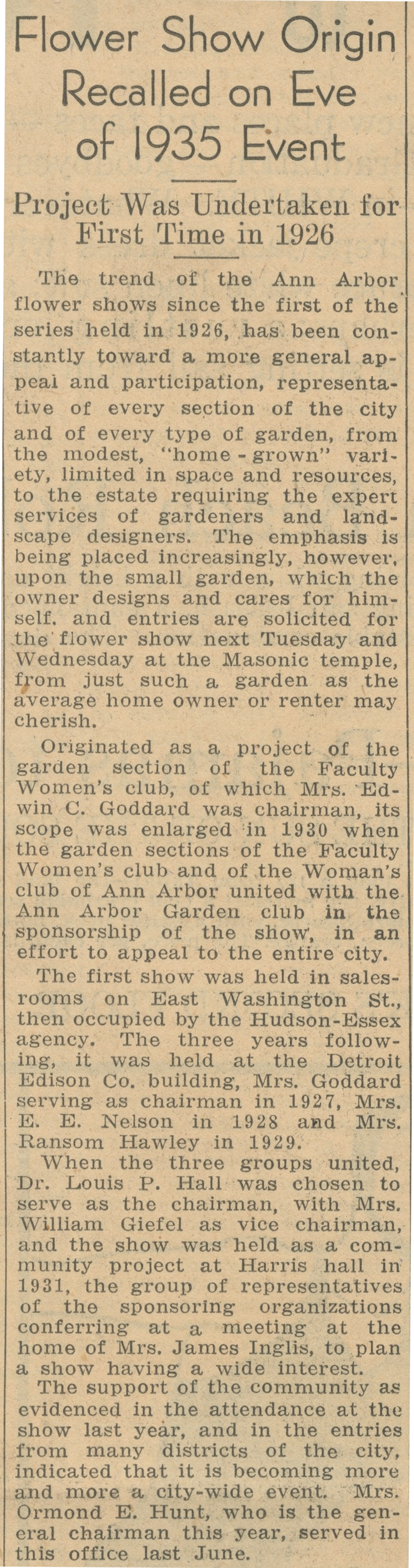 Flower Show Origin Recalled On Eve Of 1935 Event - Project Was First Undertaken In 1926 image