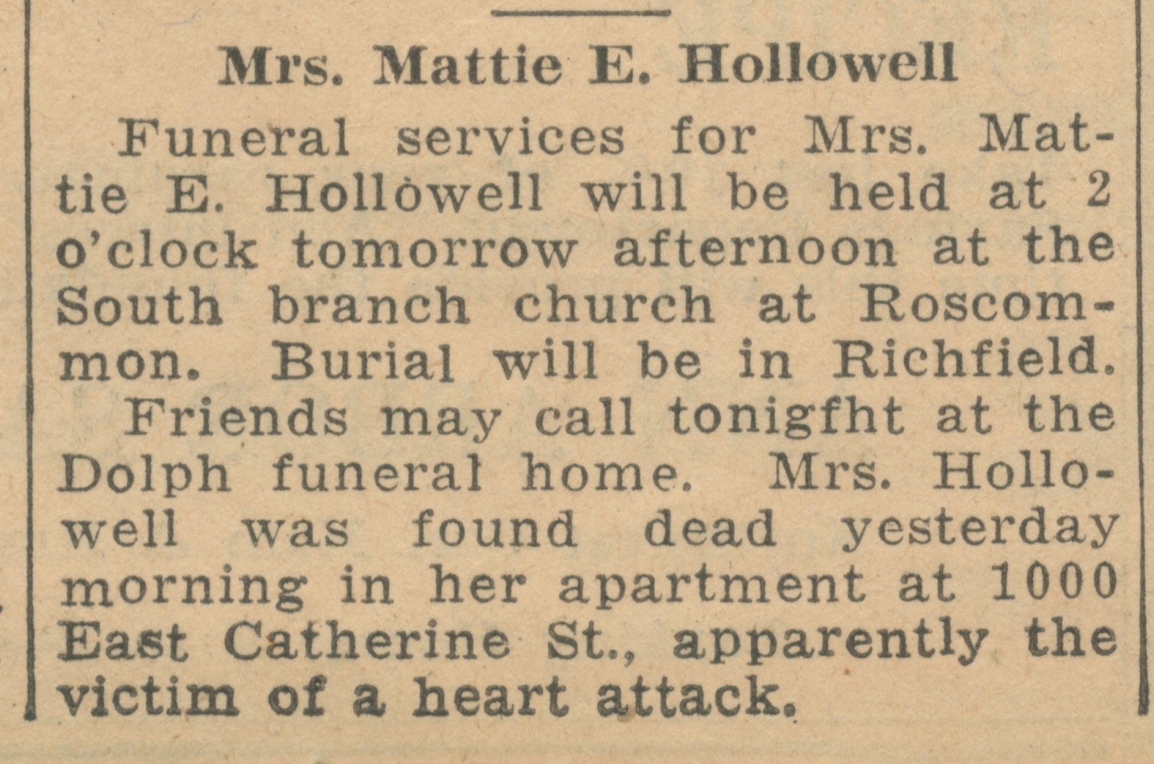 Mrs. Mattie E. Hollowell image