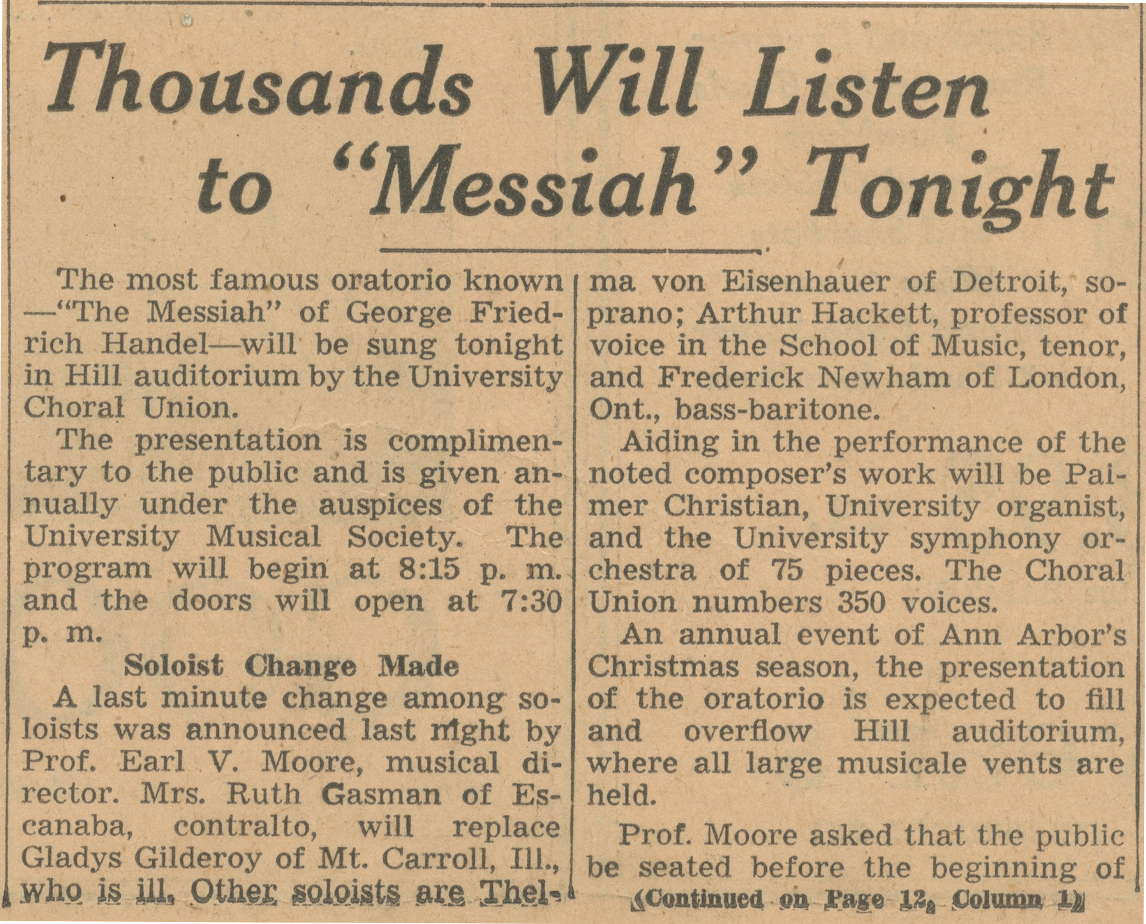"Thousands Will Listen to 'Messiah"" Tonight image"