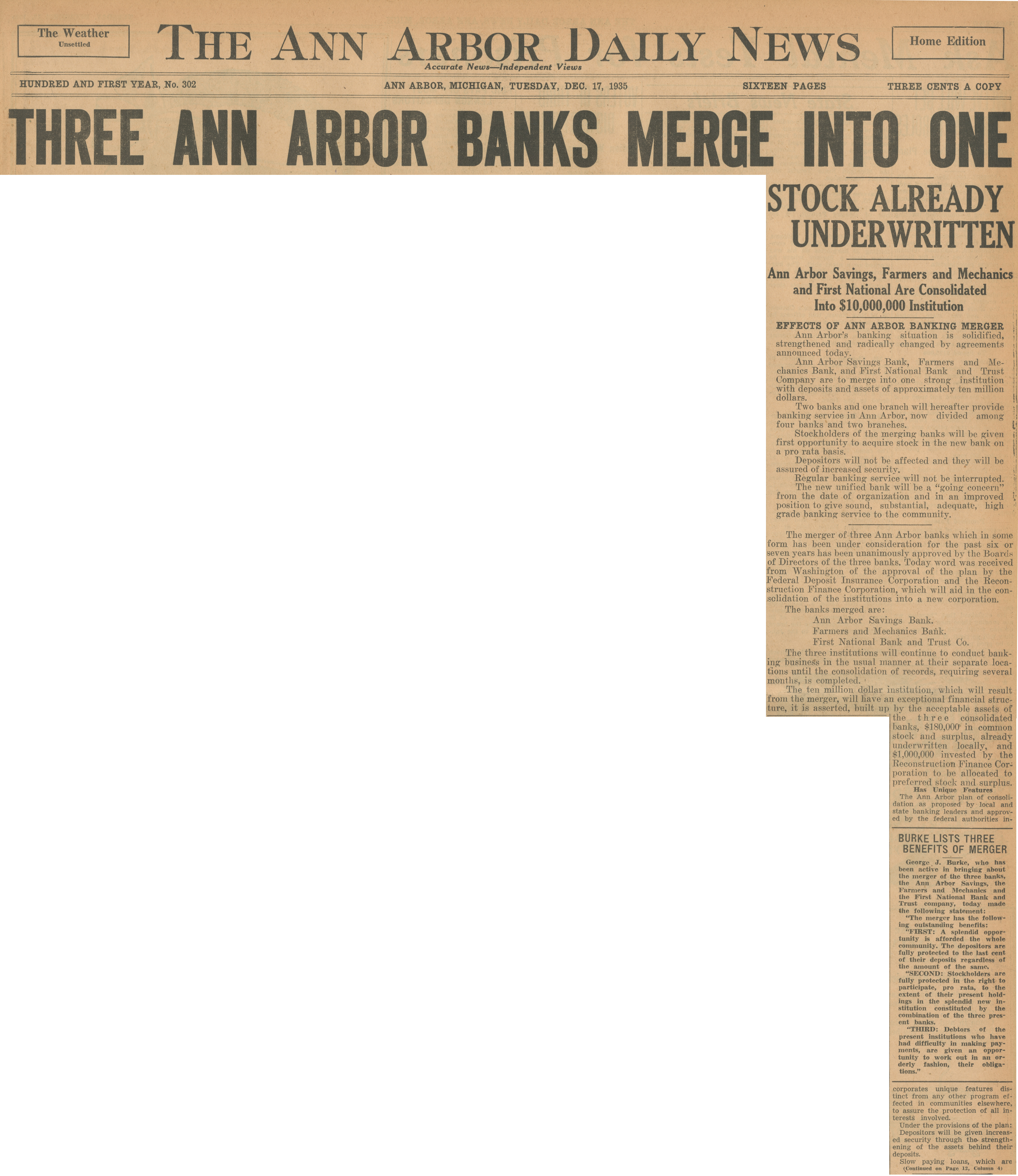 Three Ann Arbor Banks Merge Into One image