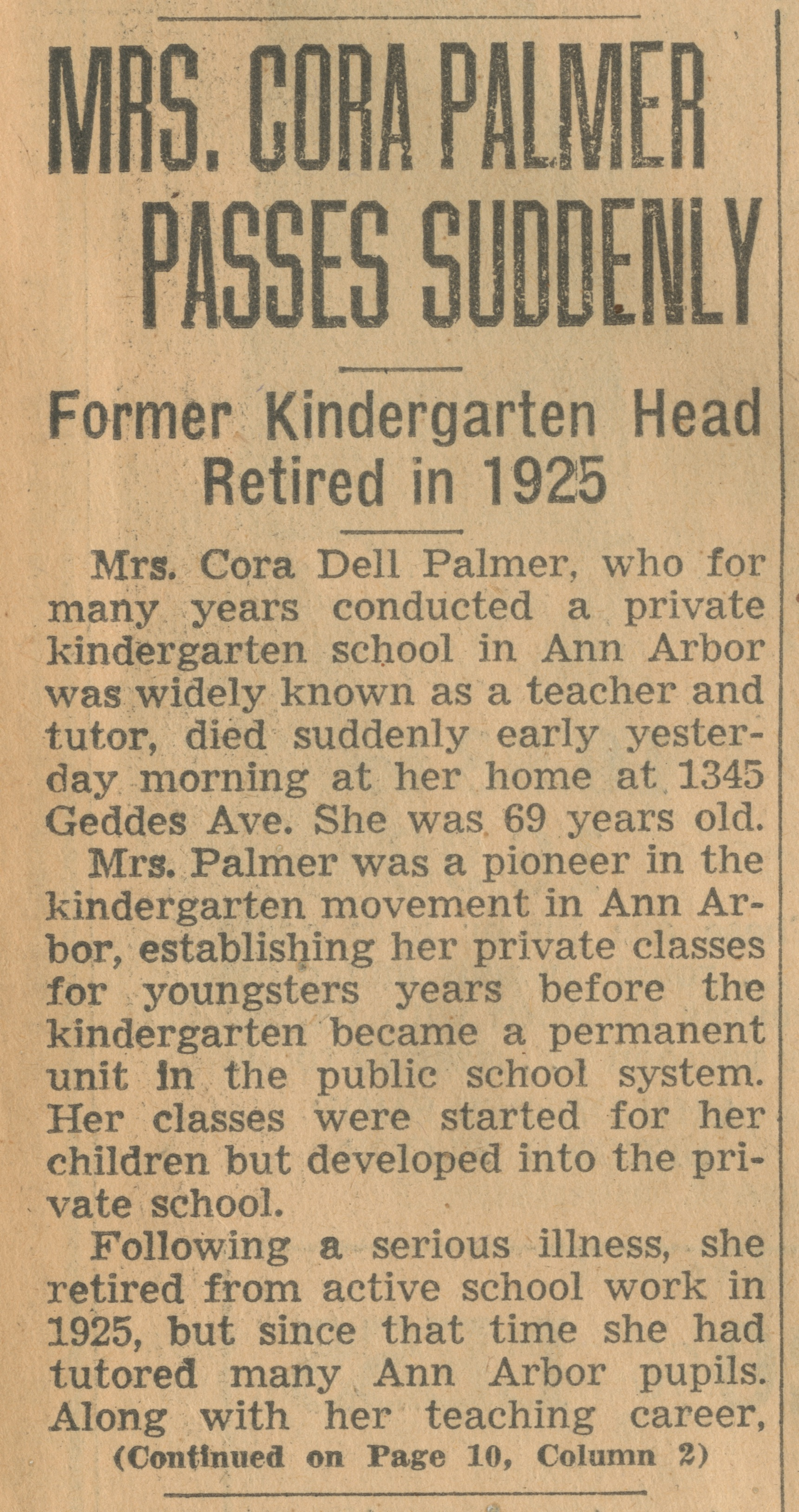 Mrs. Cora Palmer Passes Suddenly image